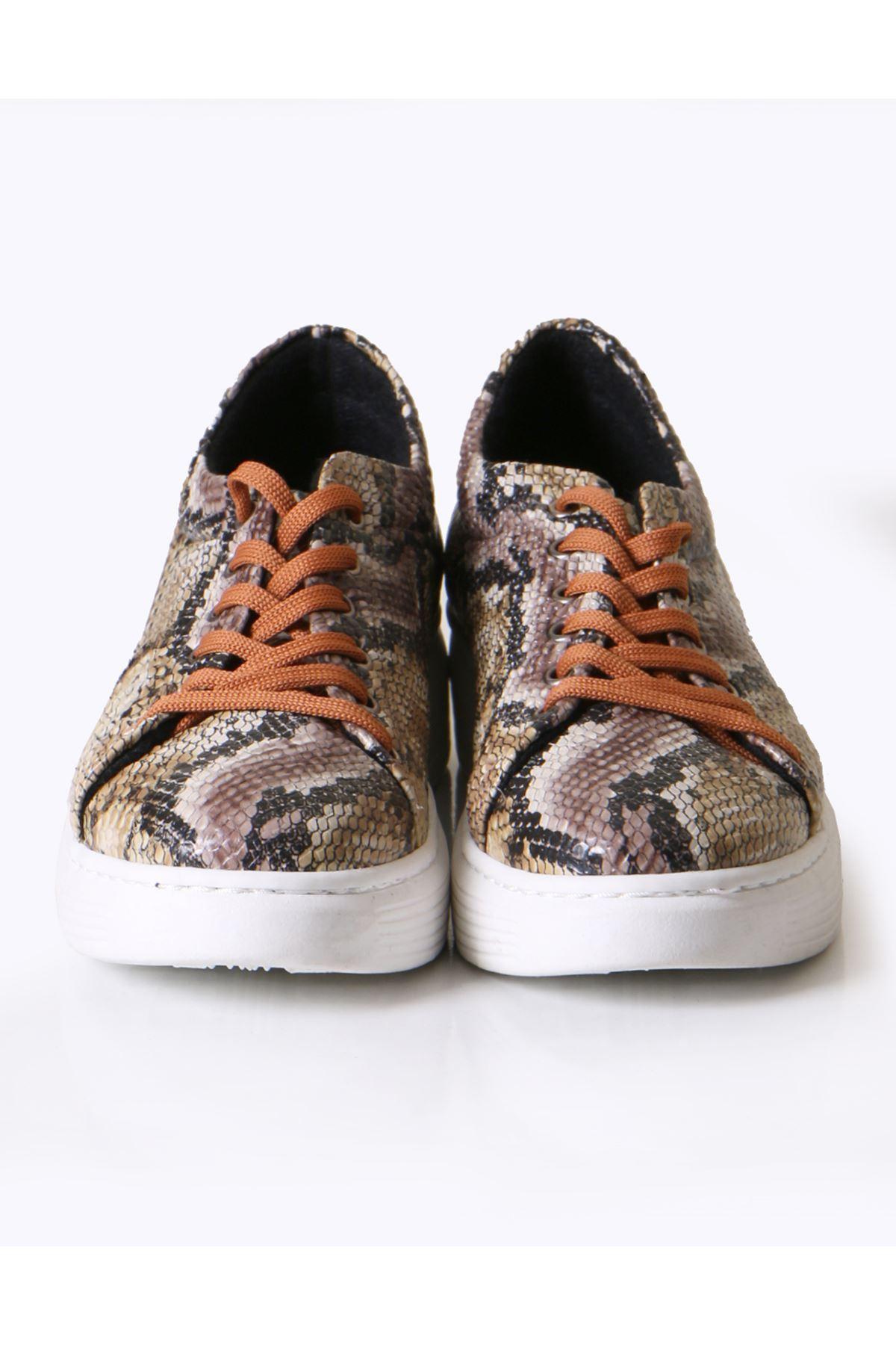 Taba Yılan Desen Sneaker Ayakkabı