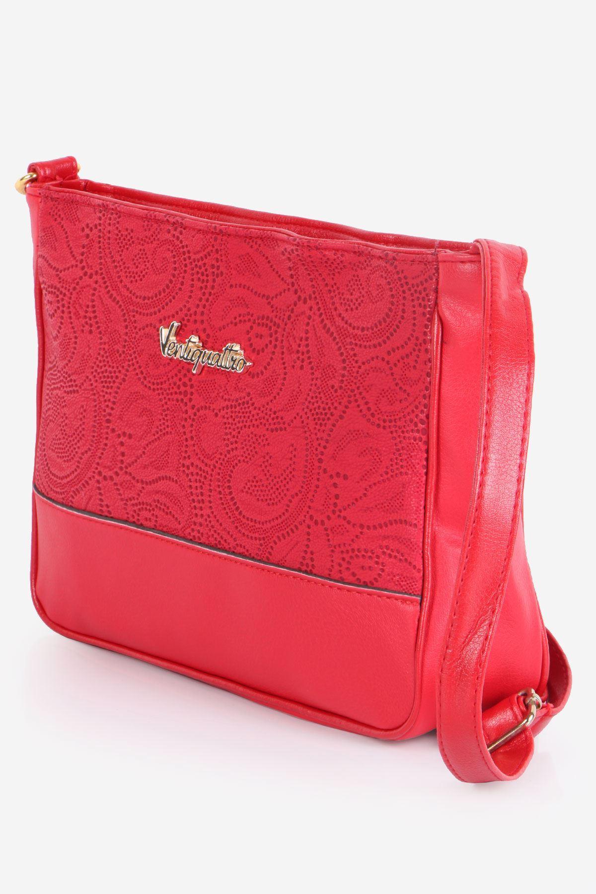 Kırmızı Mat Lazer Desenli Çapraz Çanta
