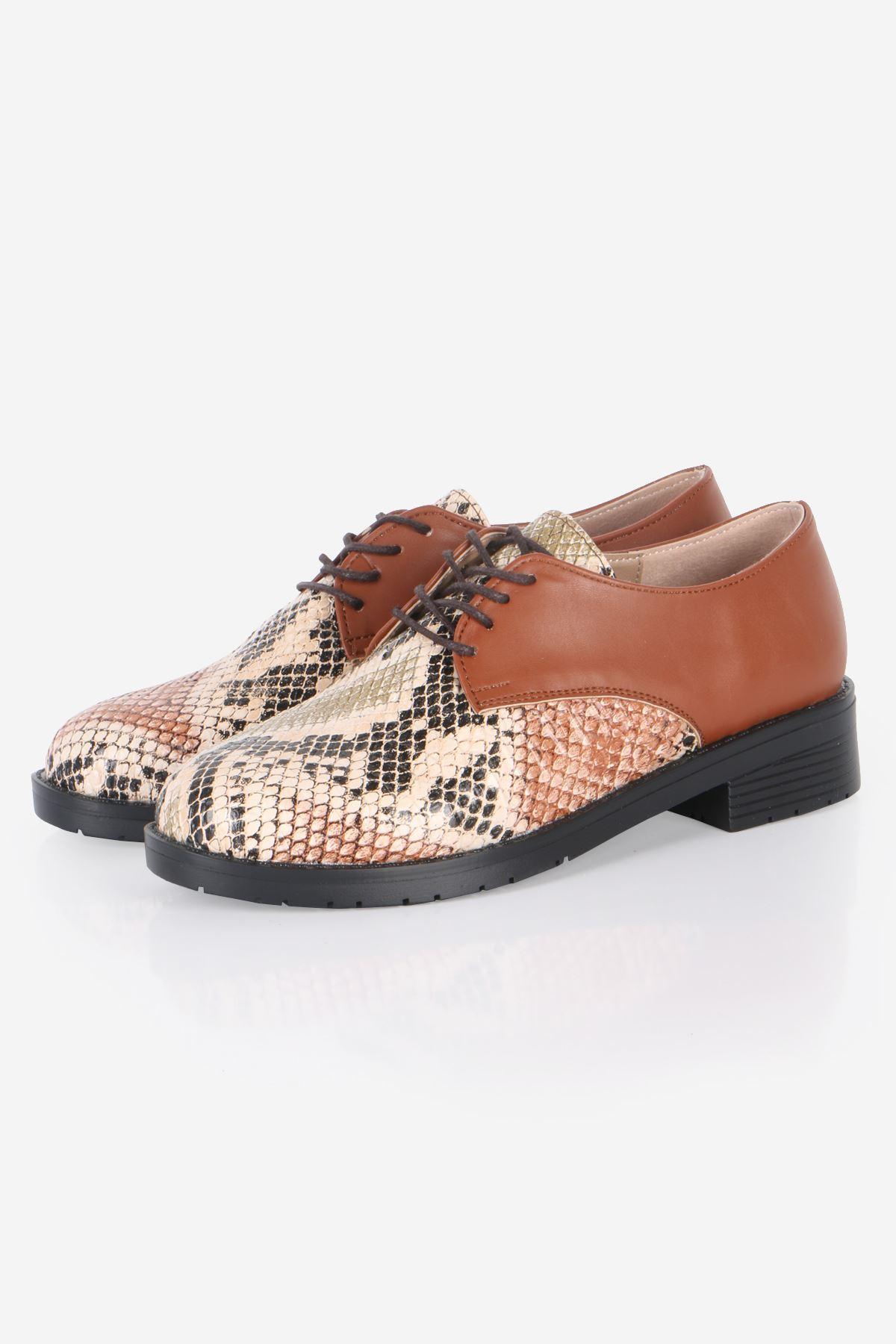 Taba Yılan Detaylı Oxford Ayakkabı
