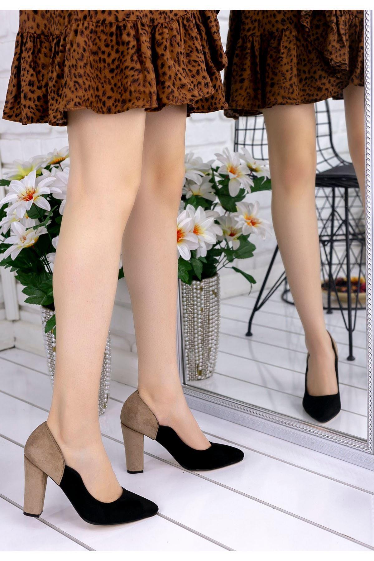 İlene Siyah Süet Vizon Topuklu Ayakkabı