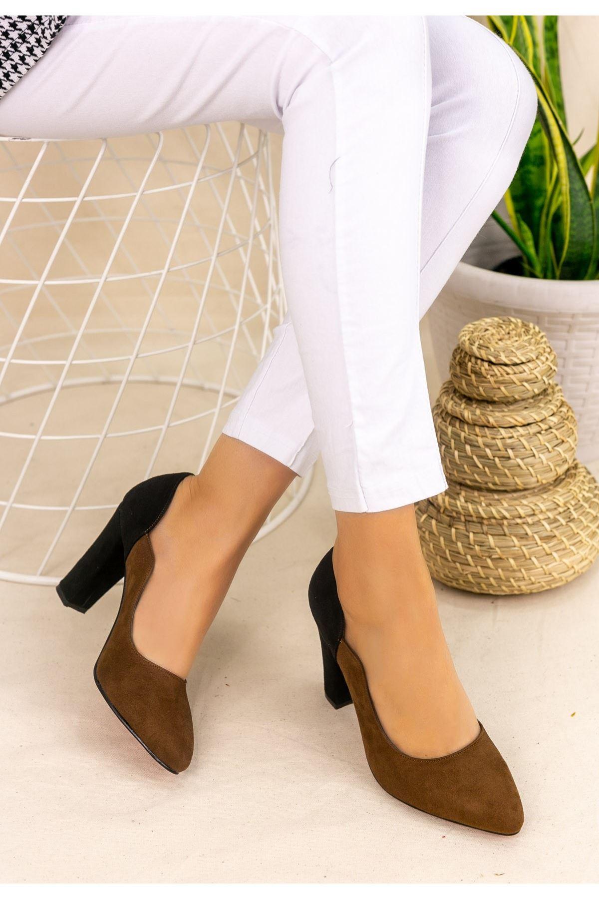 İlene Taba Süet Siyah Topuklu Ayakkabı
