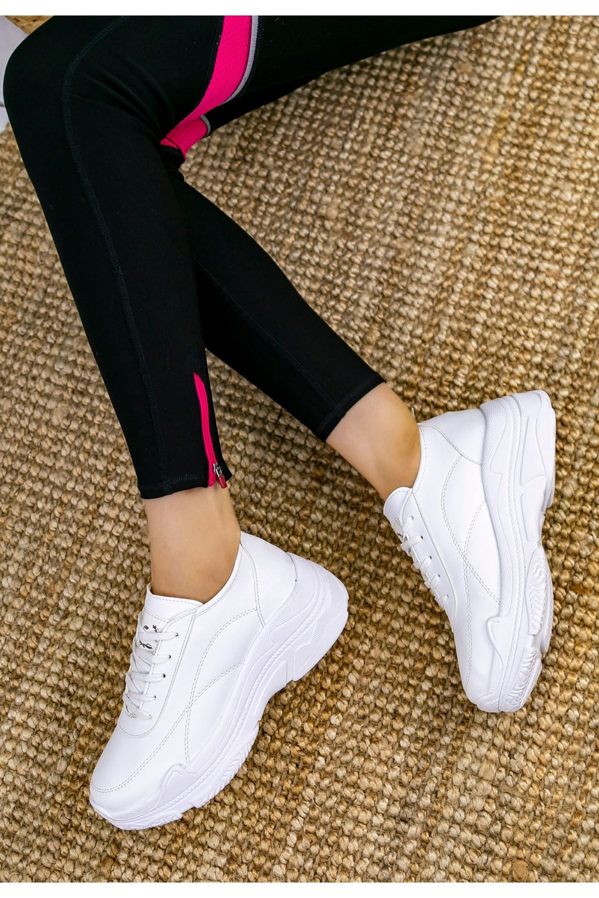 Jare Beyaz Cilt Spor Ayakkabı