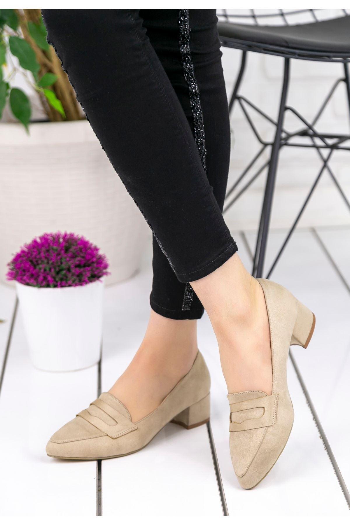 Reyna Krem Süet Topuklu Ayakkabı