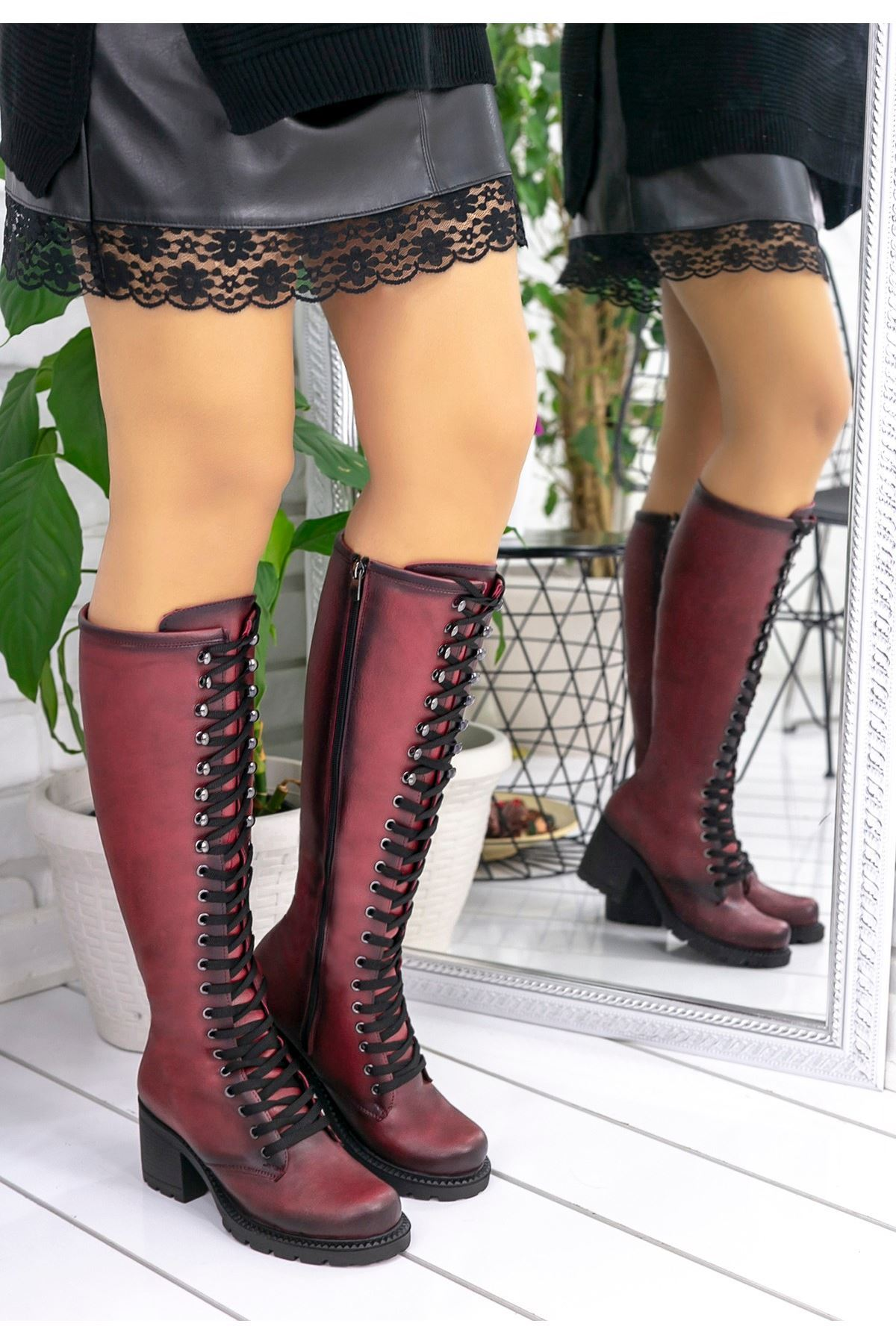 Robina Bordo Cilt Çizme
