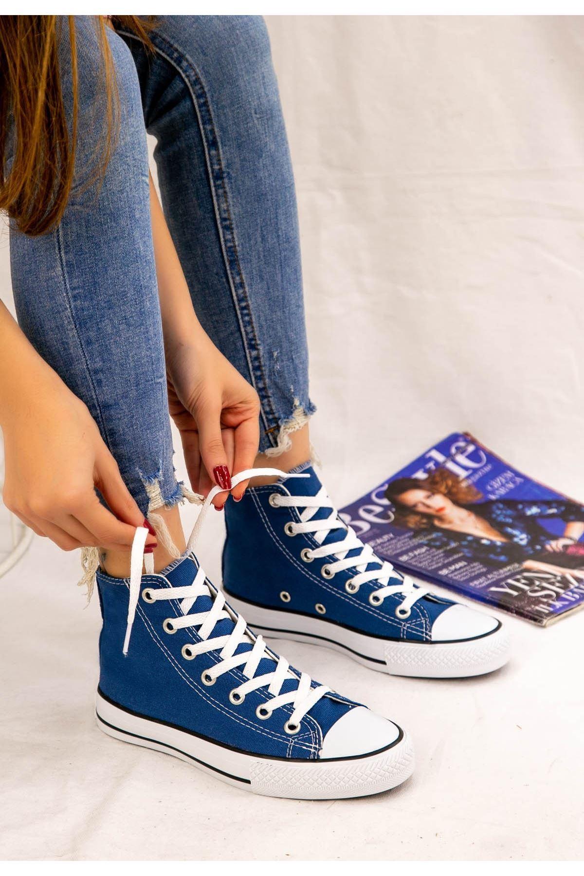Kori Mavi Keten Bot Spor Ayakkabı