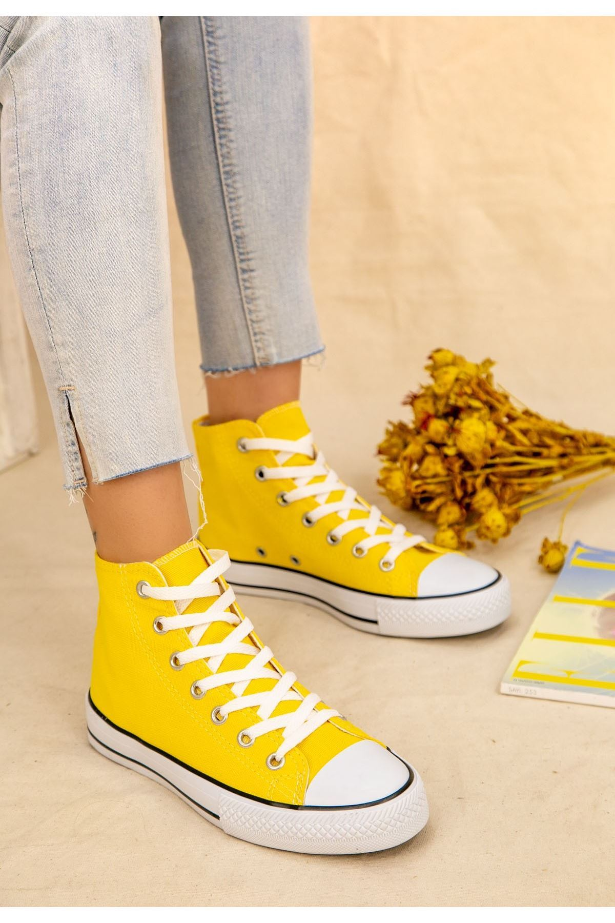 Kori Sarı Keten Bot Spor Ayakkabı