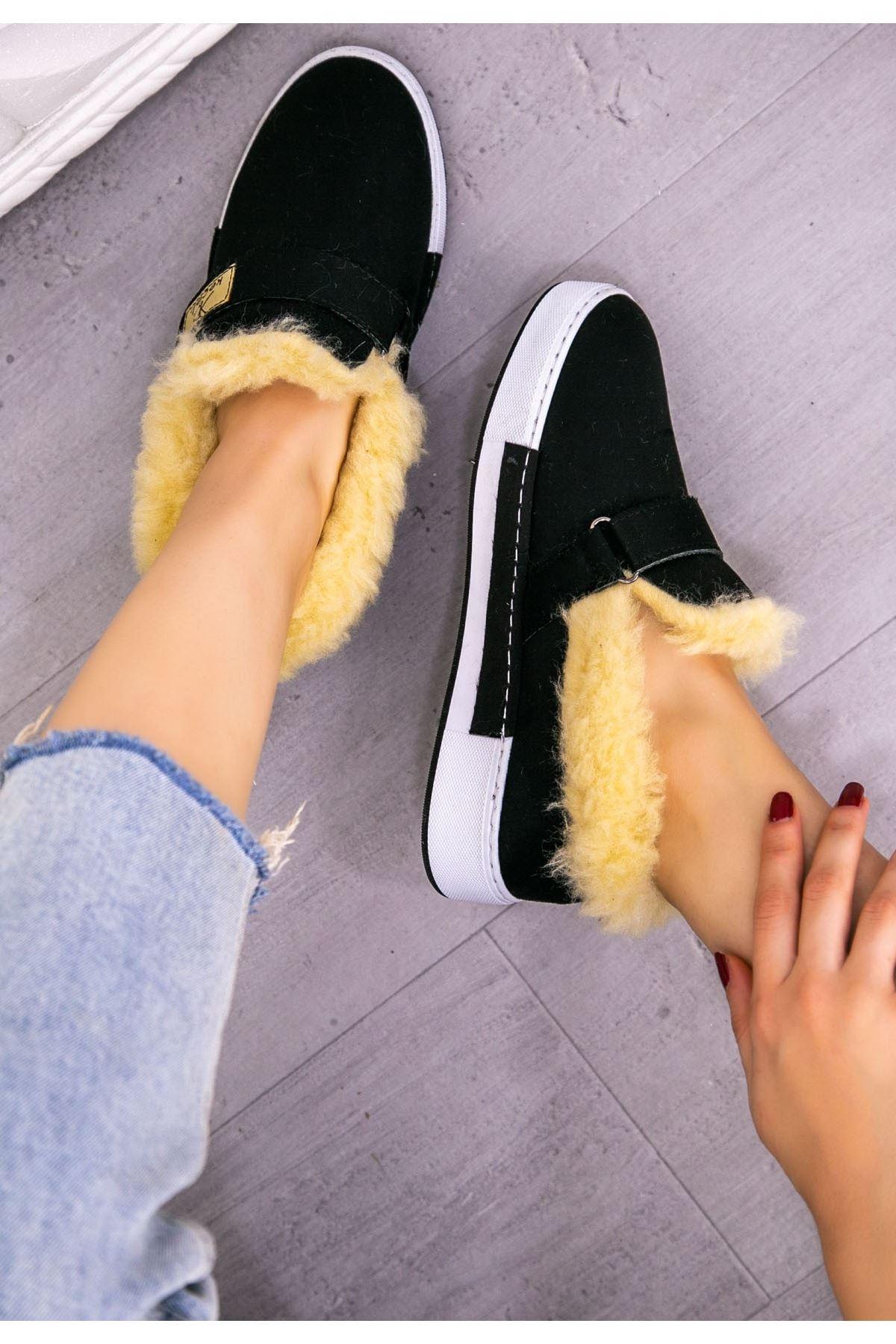 Rion Siyah Süet Babet Ayakkabı