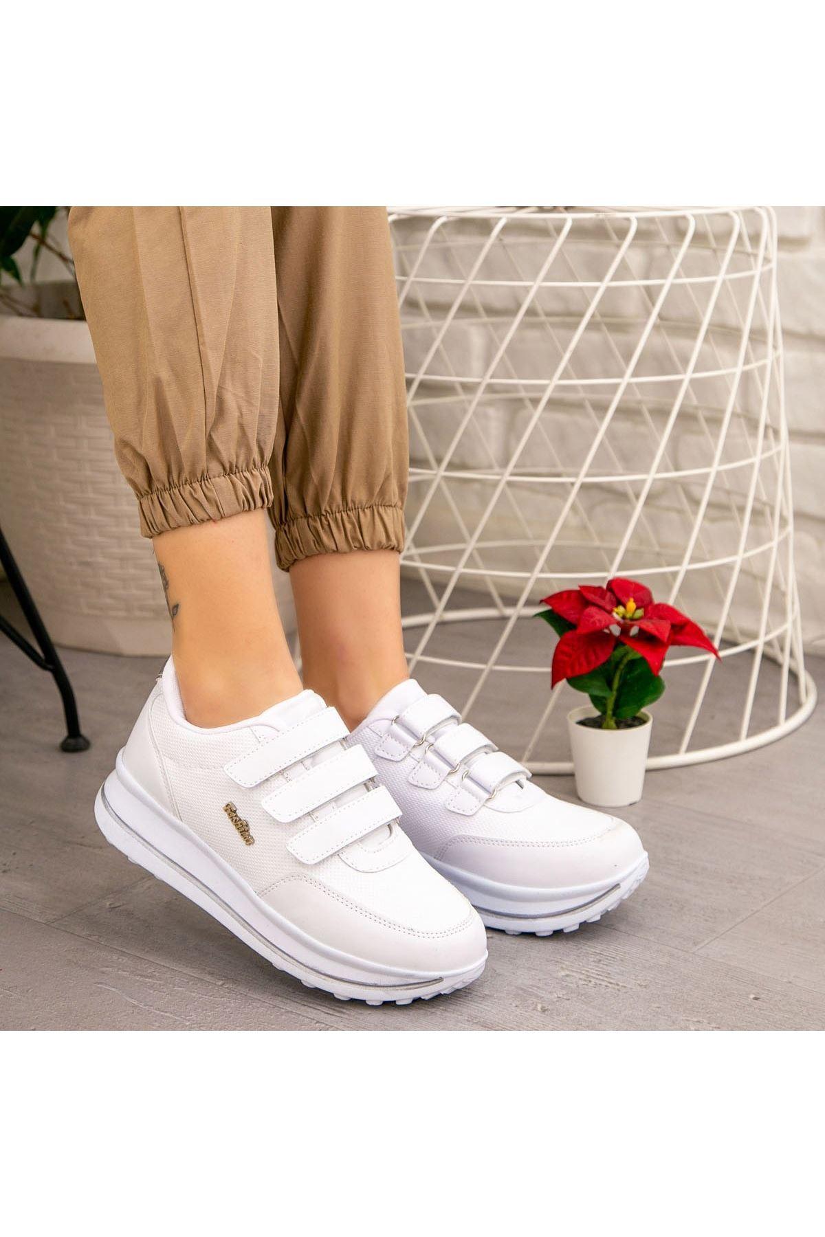 Remi Beyaz Cilt Spor Ayakkabı
