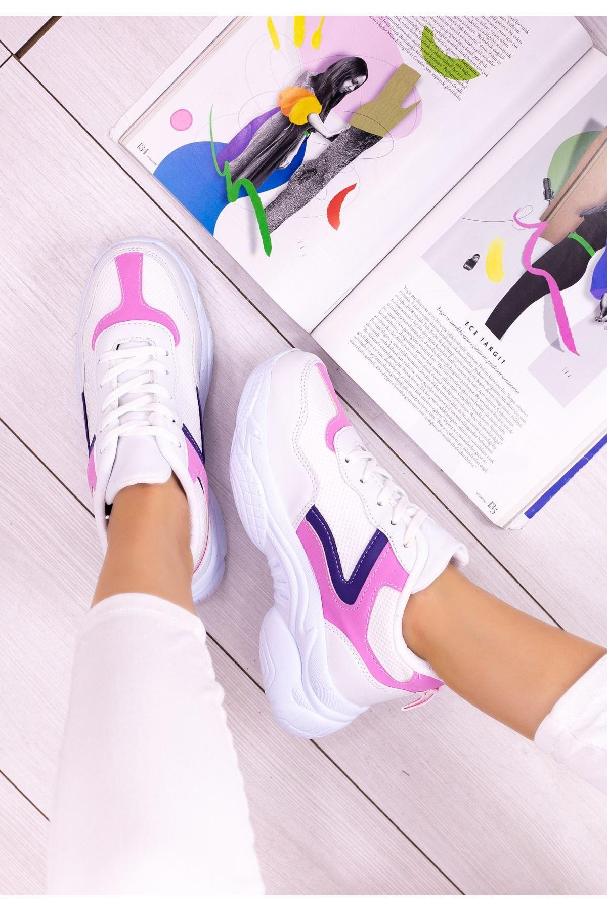 Jomox Beyaz Cilt Pudra Detaylı Spor Ayakkabı