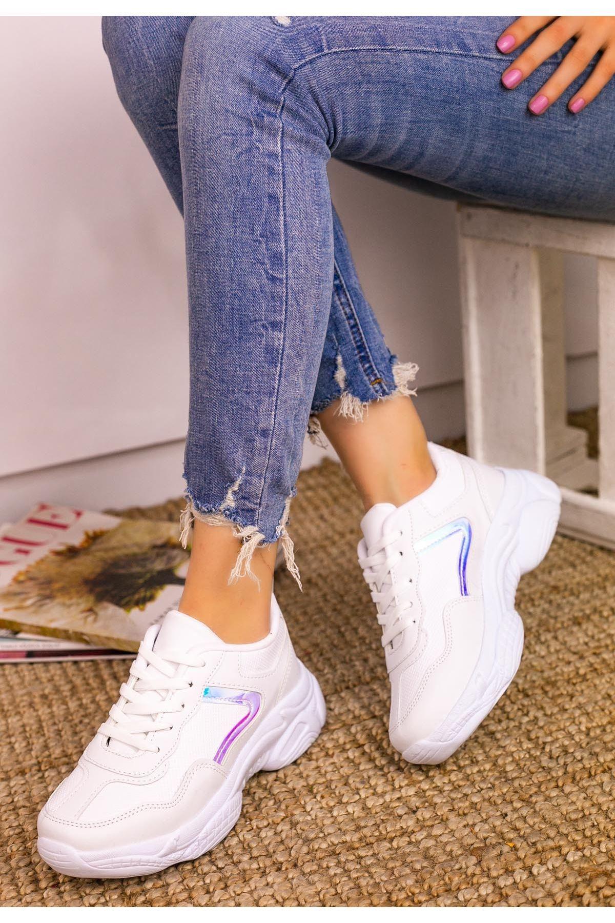 Jomox Beyaz Cilt Gümüş Hologram Detaylı Spor Ayakkabı