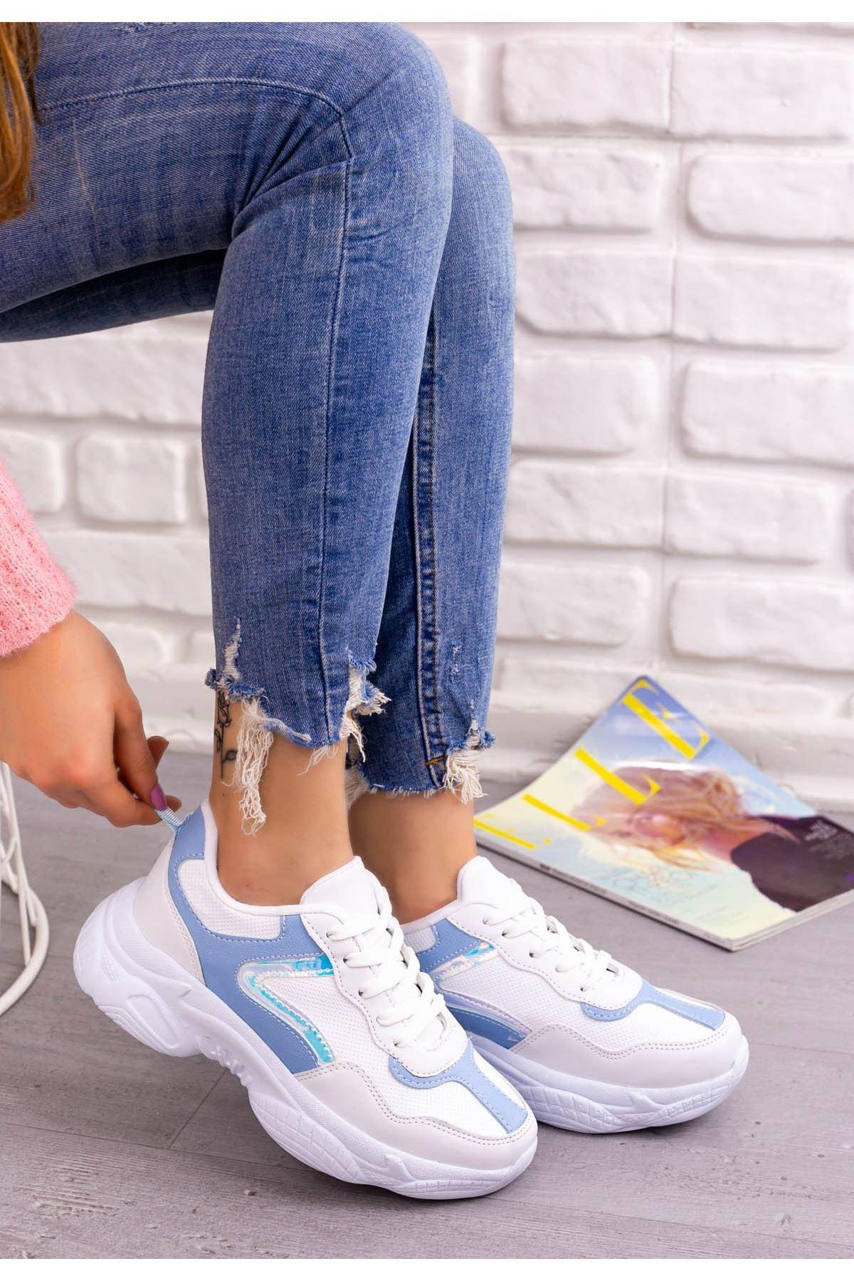 Jomox Beyaz Cilt Bebe Mavisi Detaylı Spor Ayakkabı