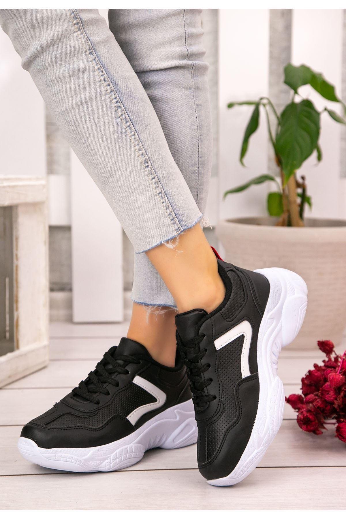 Jomox Siyah Cilt Beyaz Detaylı Spor Ayakkabı