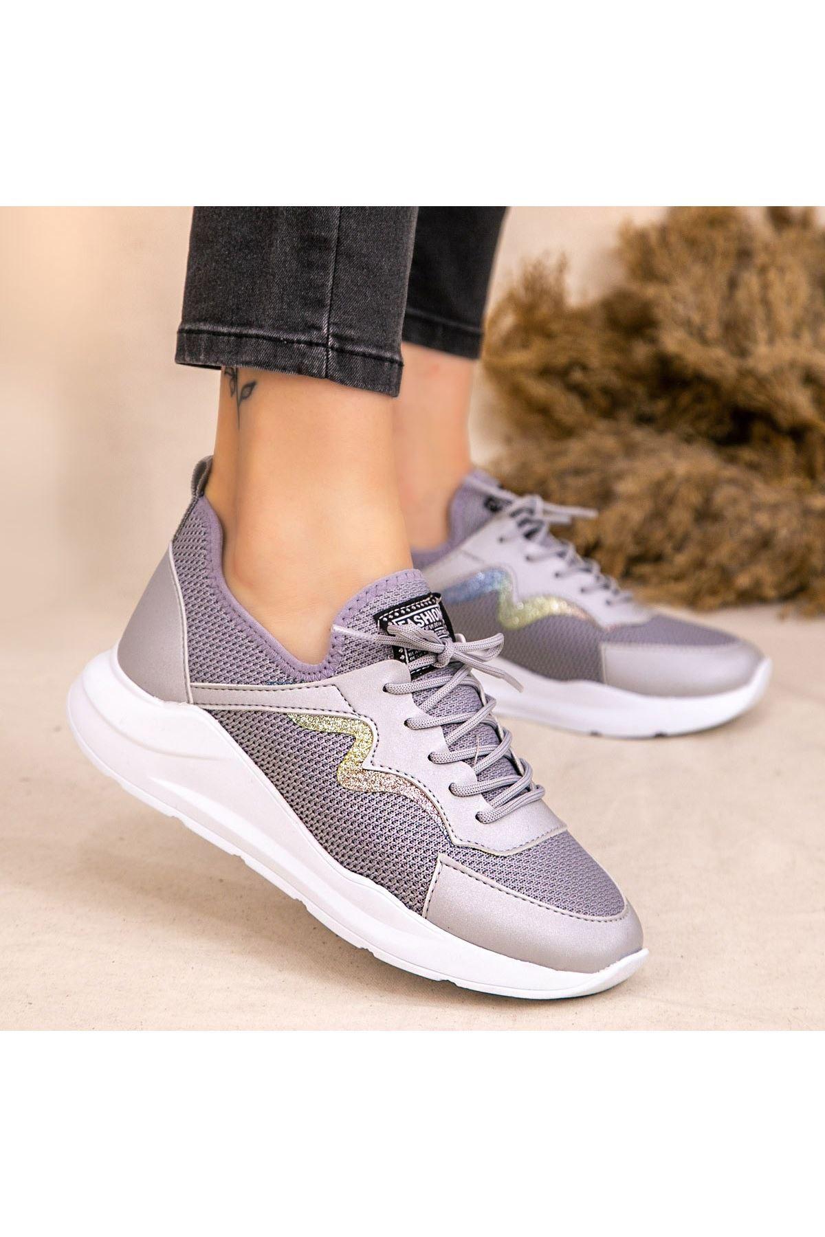 Acri Gri Cilt Bağcıklı Spor Ayakkabı