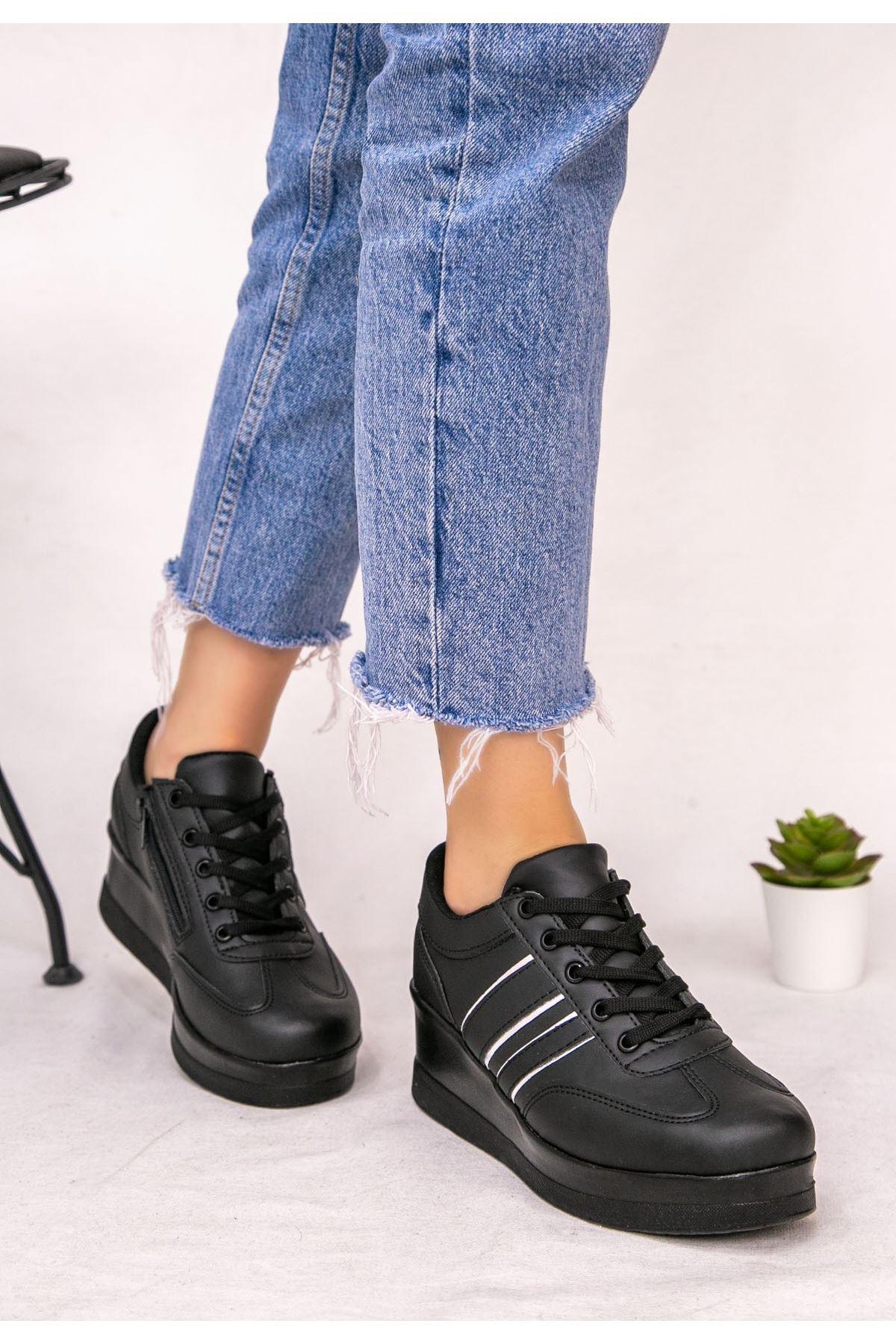 Warm Siyah Cilt Gümüş Şeritli Spor Ayakkabı