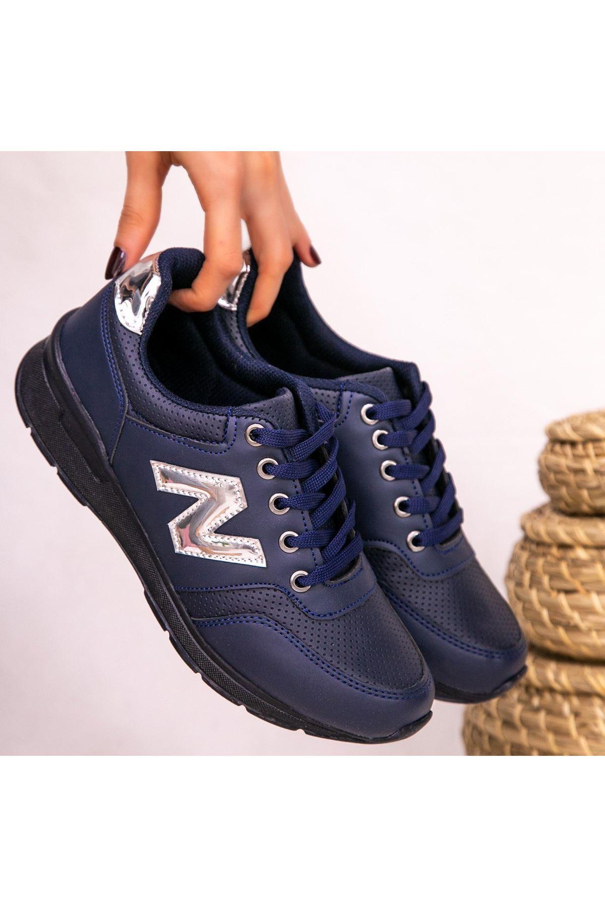 Serc Lacivert Cilt Bağcıklı Spor Ayakkabı
