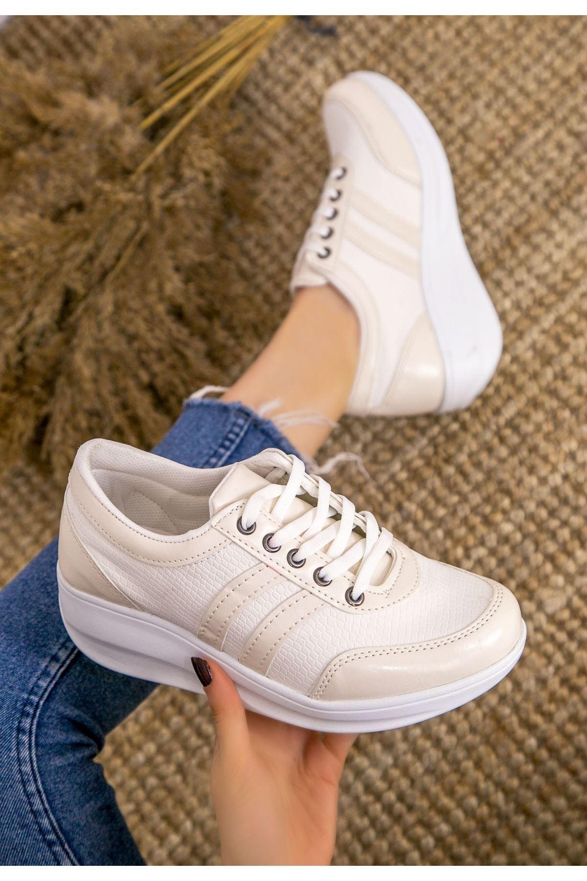 Tinos Krem Cilt Bağcıklı Spor Ayakkabı