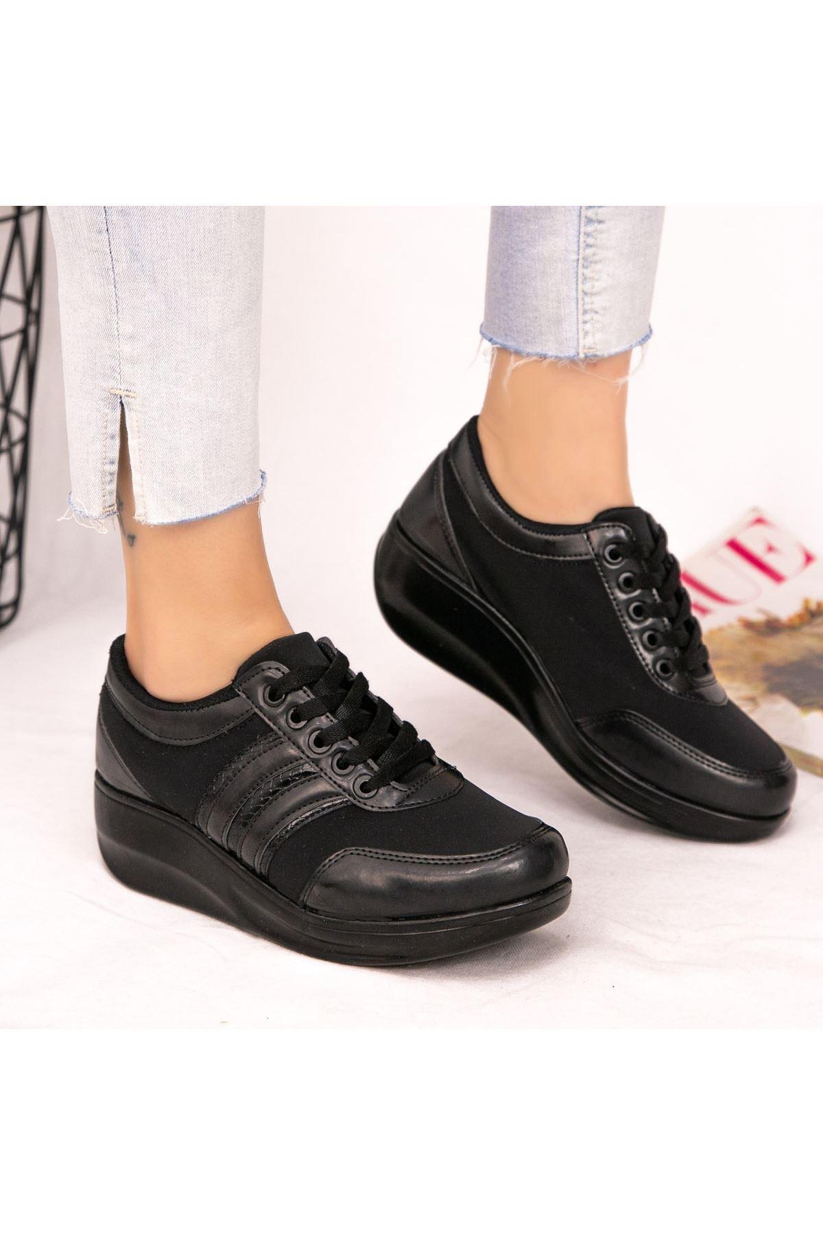 Tinos Siyah Cilt Bağcıklı Spor Ayakkabı