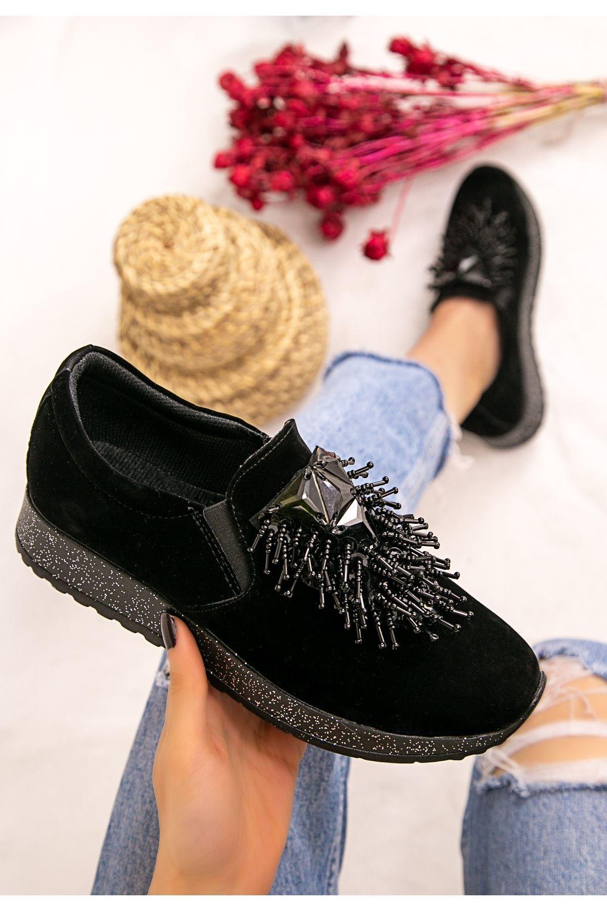 Wilda Siyah Süet Boncuklu Spor Ayakkabı