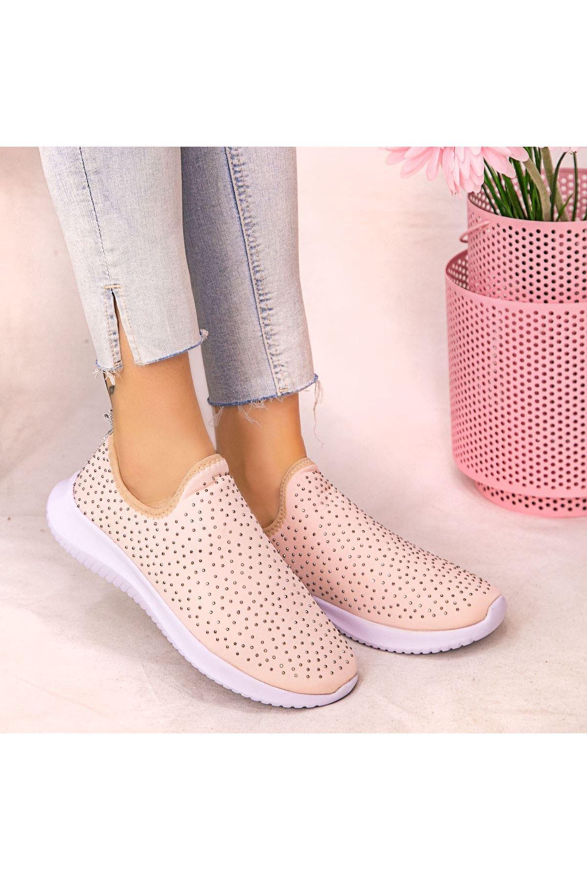 Stin Pudra Boncuk İşlemeli Spor Ayakkabı