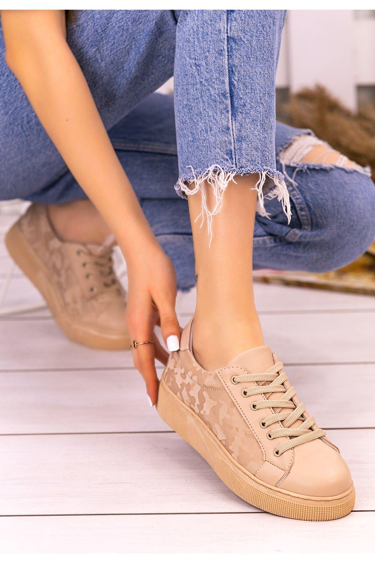 Nean Krem Cilt Desenli Bağcıklı Spor Ayakkabı