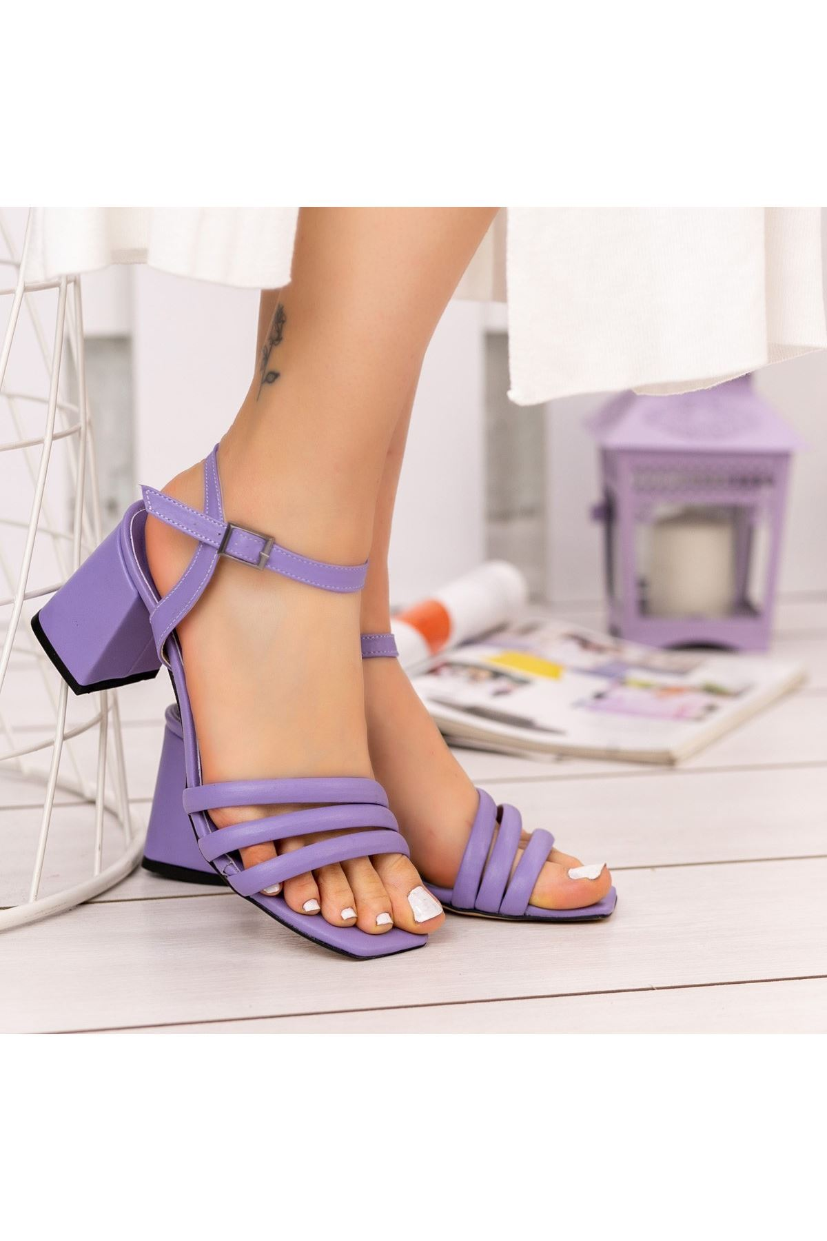 Larix Lila Cilt Topuklu Ayakkabı