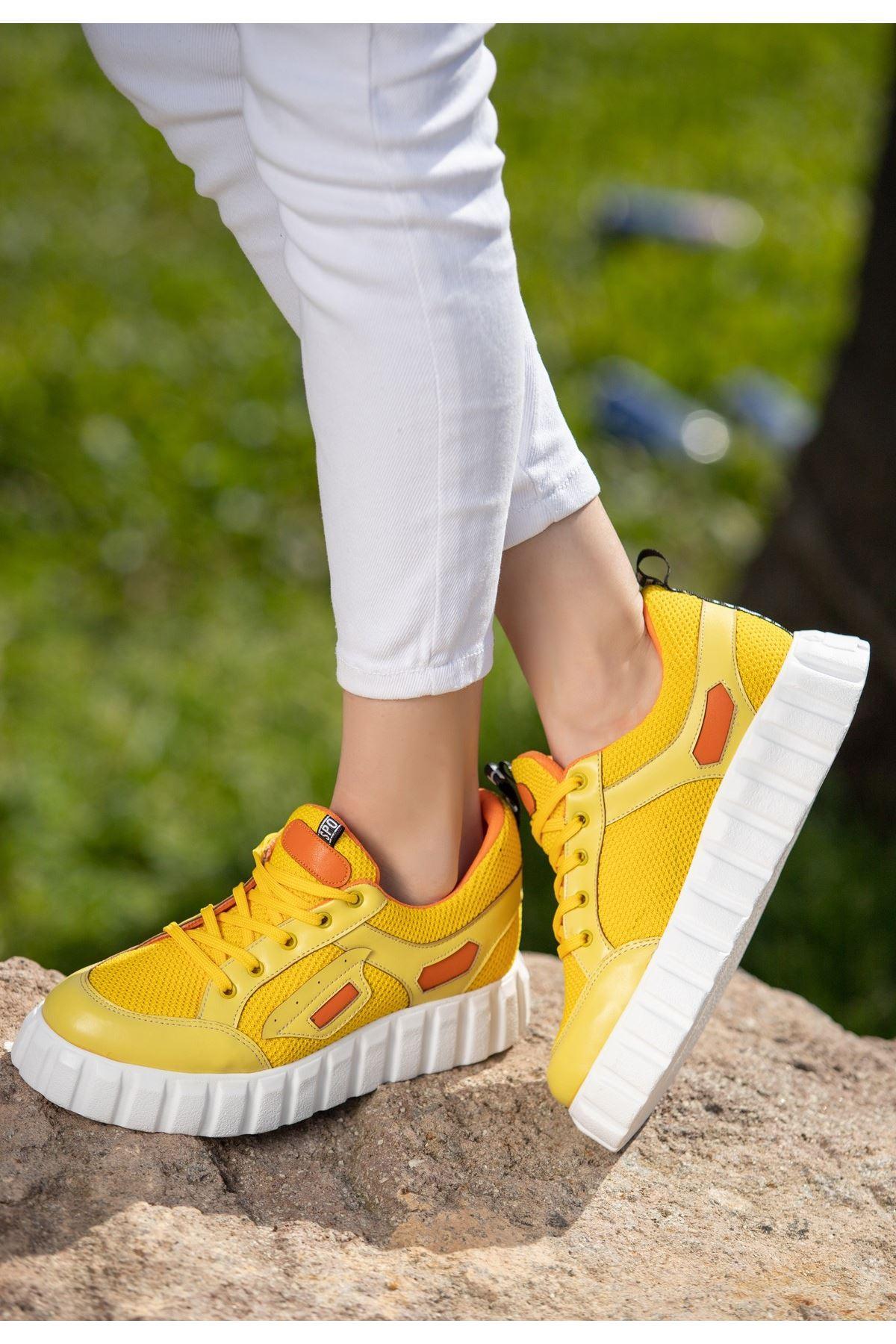 Adna Sarı Cilt Bağcıklı Spor Ayakkabı