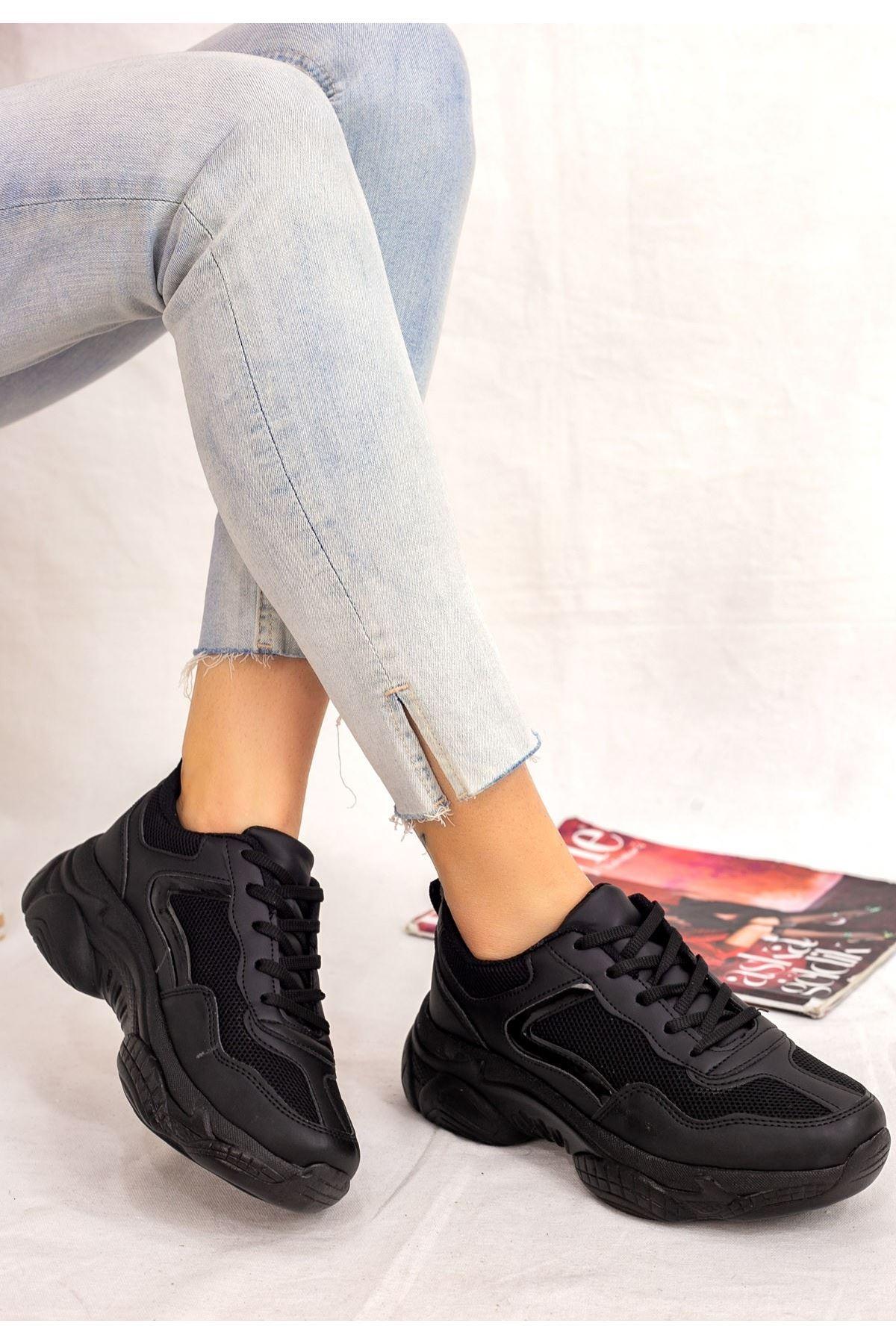 Jomox Siyah Cilt Spor Ayakkabı