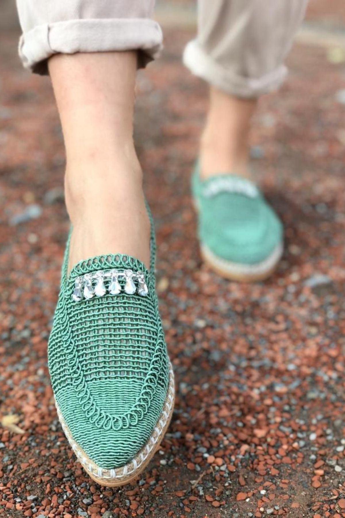 Ropen Yeşil Örgü İpli Taşlı Ayakkabı