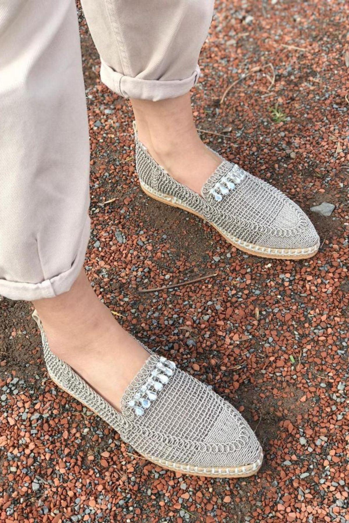 Ropen Vizon Örgü İpli Taşlı Ayakkabı