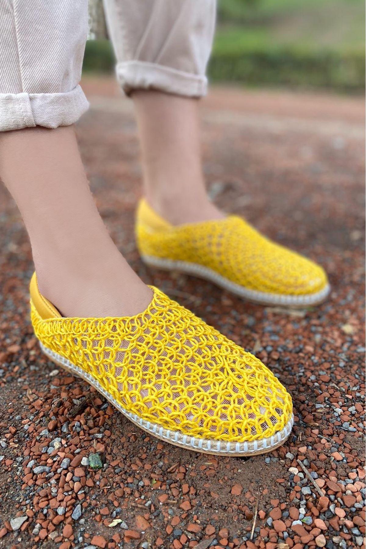 Wicker Sarı Hasır Örgü Ayakkabı