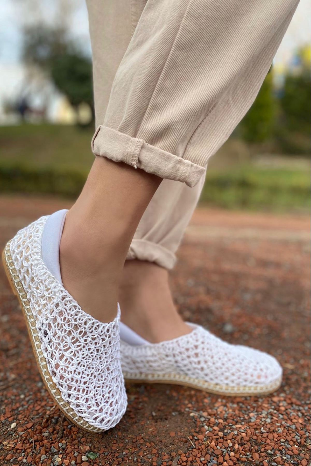 Wicker Beyaz Hasır Örgü Ayakkabı