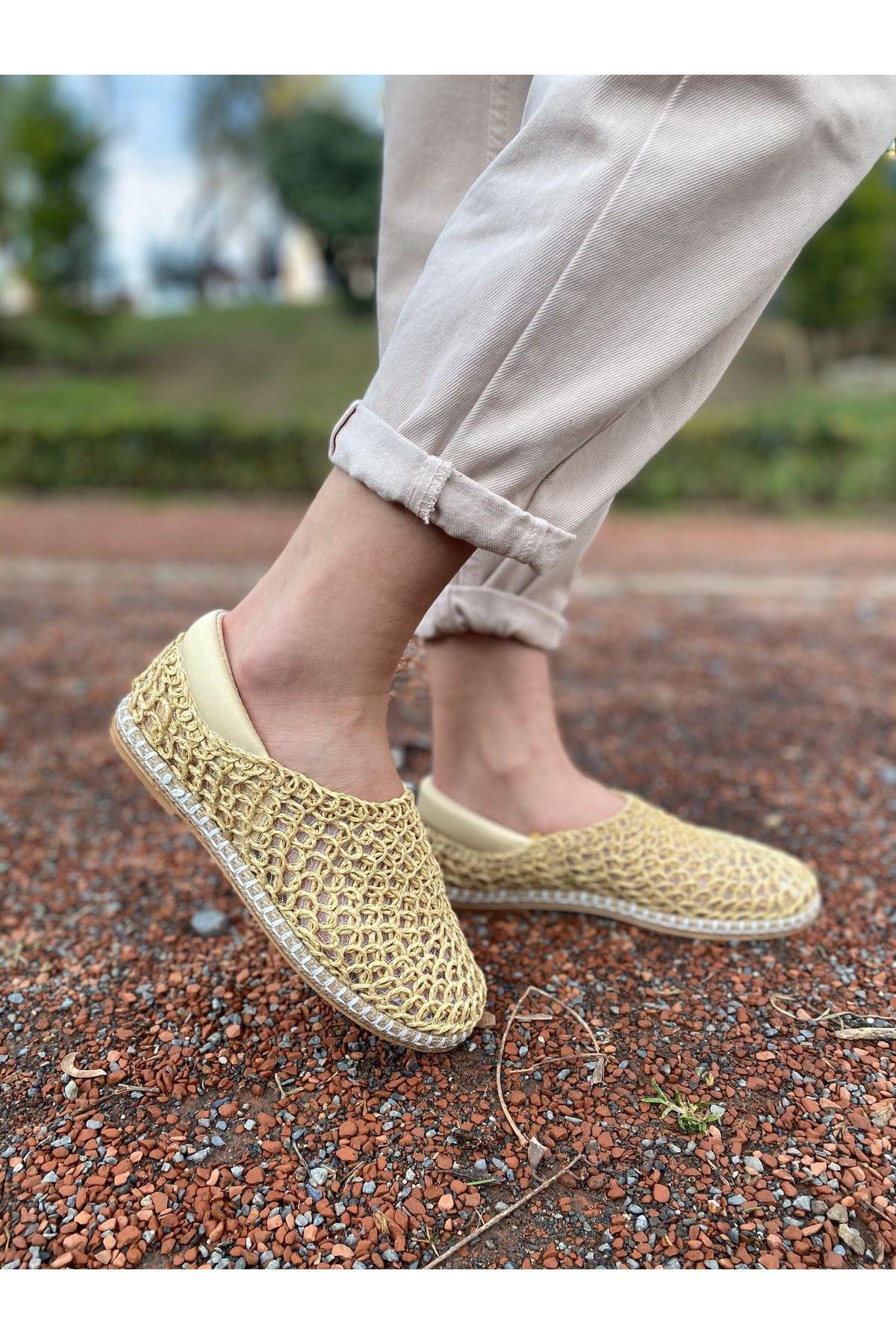 Wicker Krem Hasır Örgü Ayakkabı