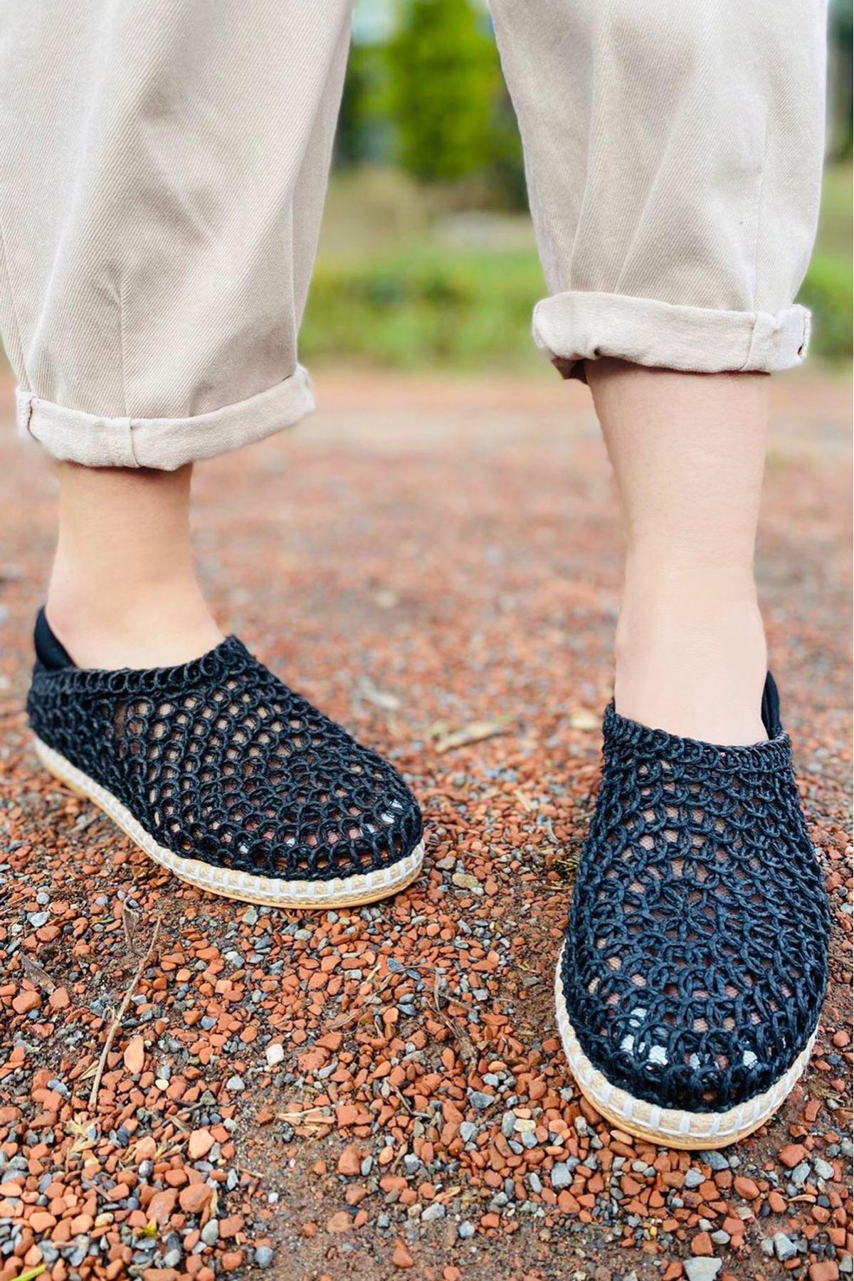 Wicker Siyah Hasır Örgü Ayakkabı