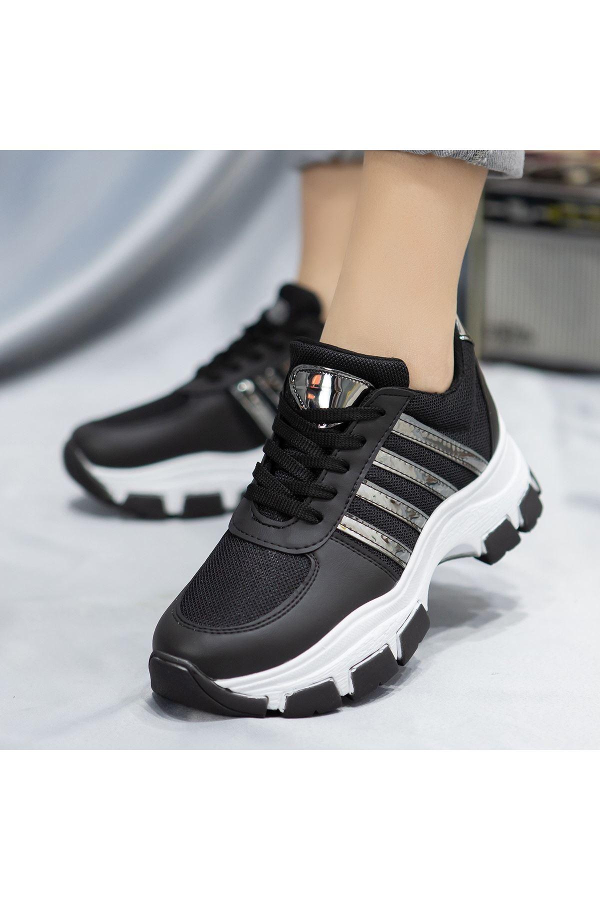 Feci Siyah Cilt Bağcıklı Beyaz Taban Spor Ayakkabı