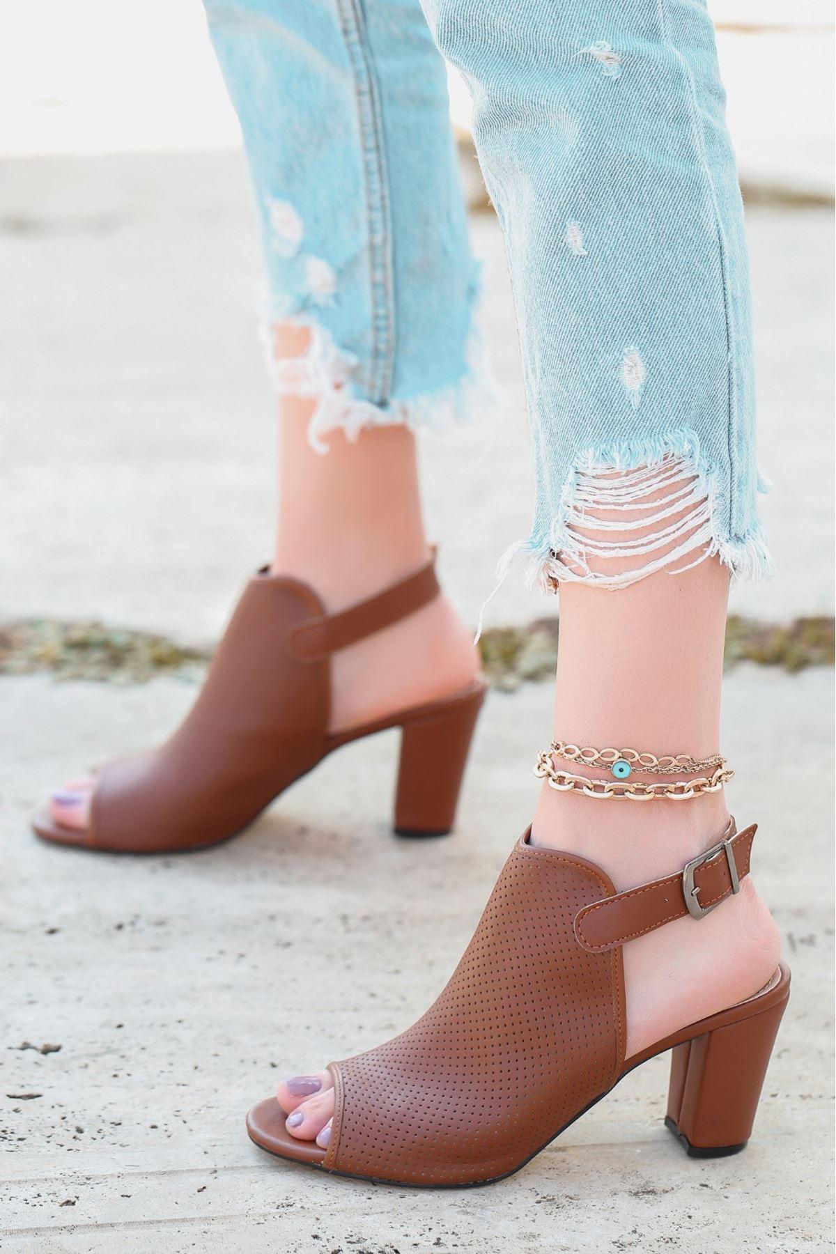 Mario Taba Cilt Fileli Topuklu Ayakkabı