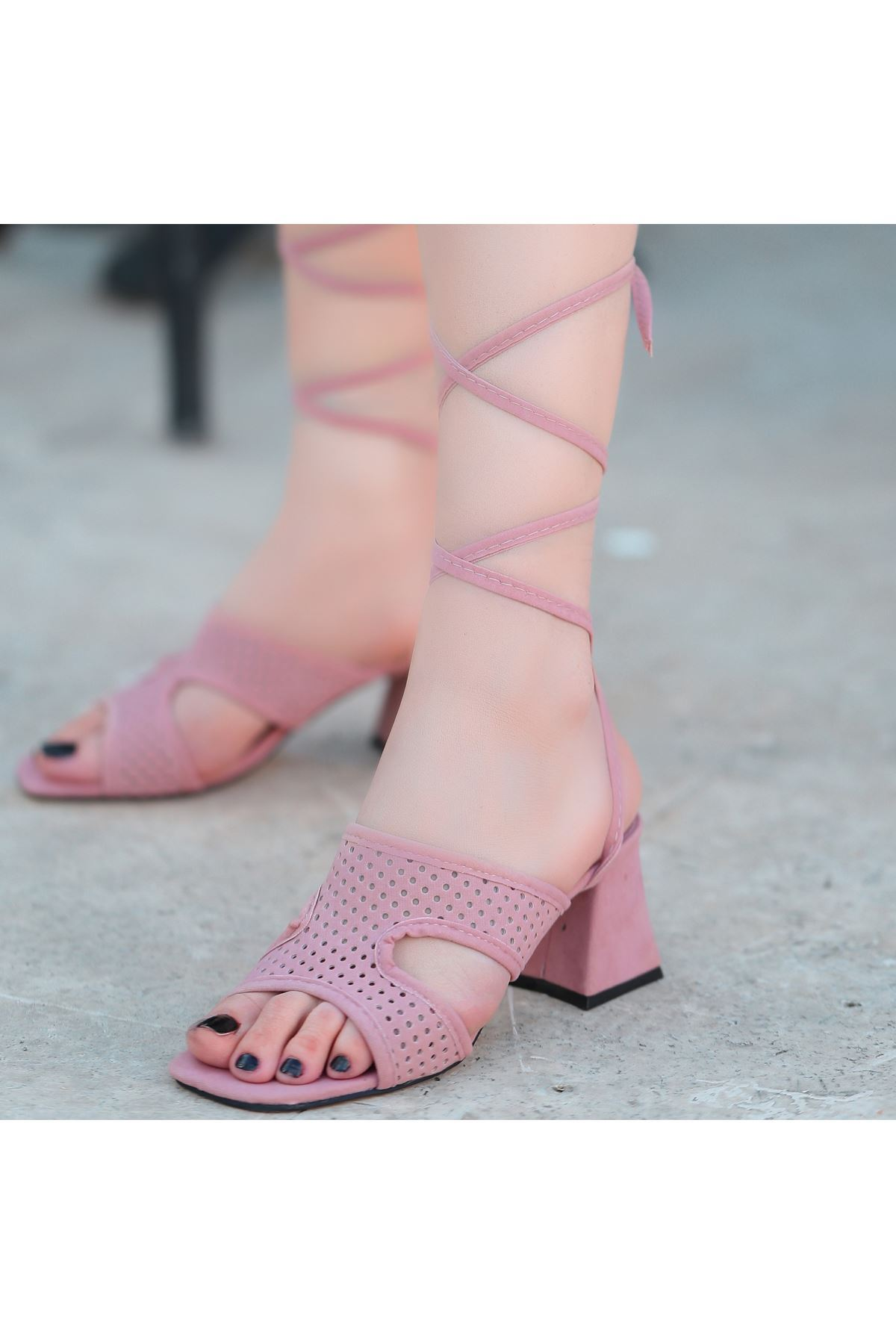 Lird Pudra Süet Topuklu Ayakkabı