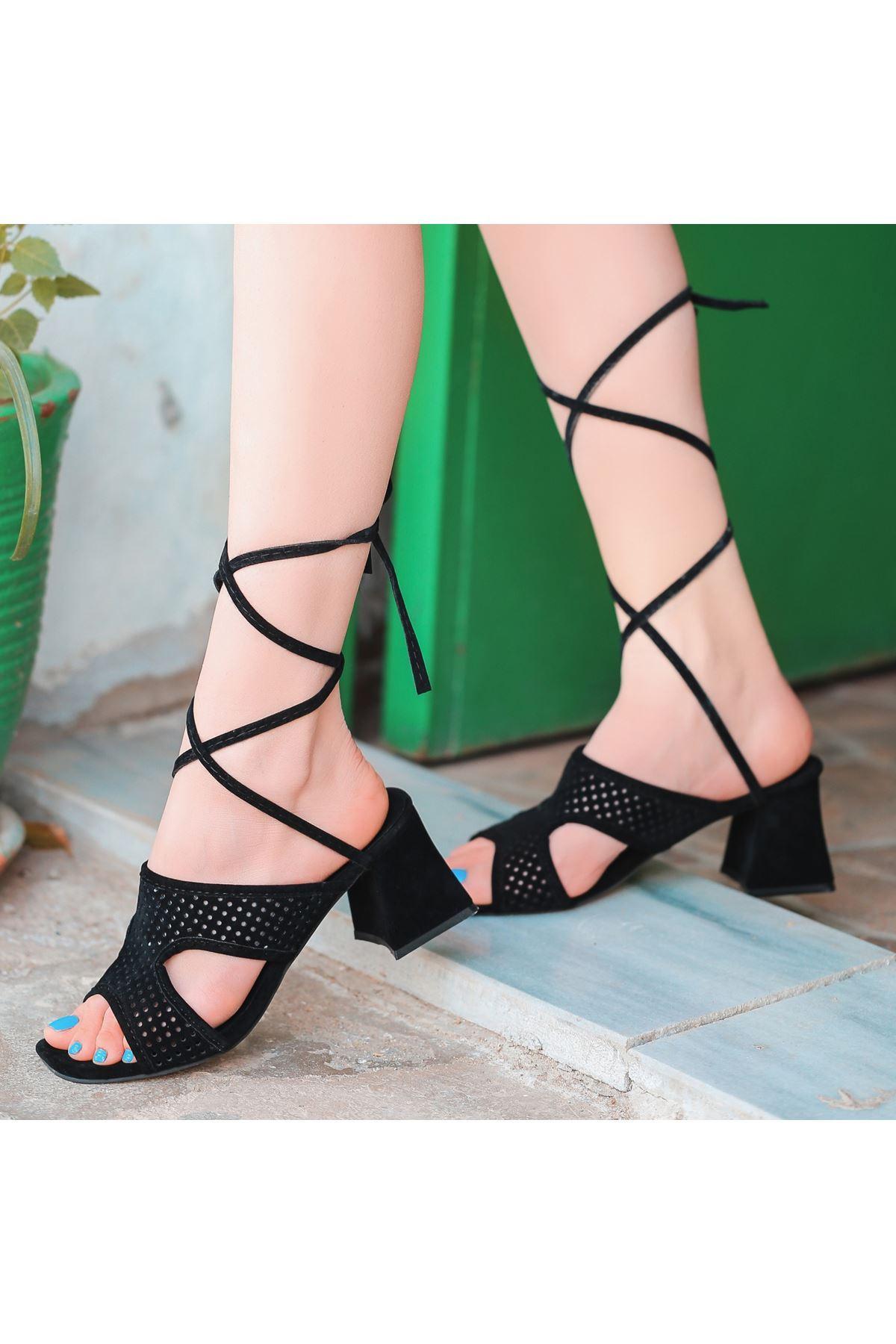 Lird Siyah Süet Topuklu Ayakkabı