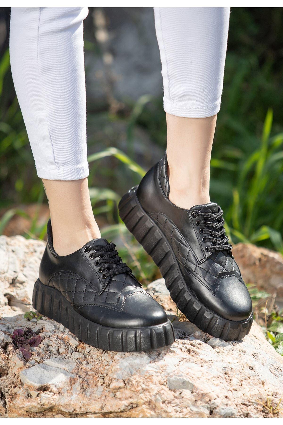 Ola Siyah Cilt Bağcıklı Spor Ayakkabı