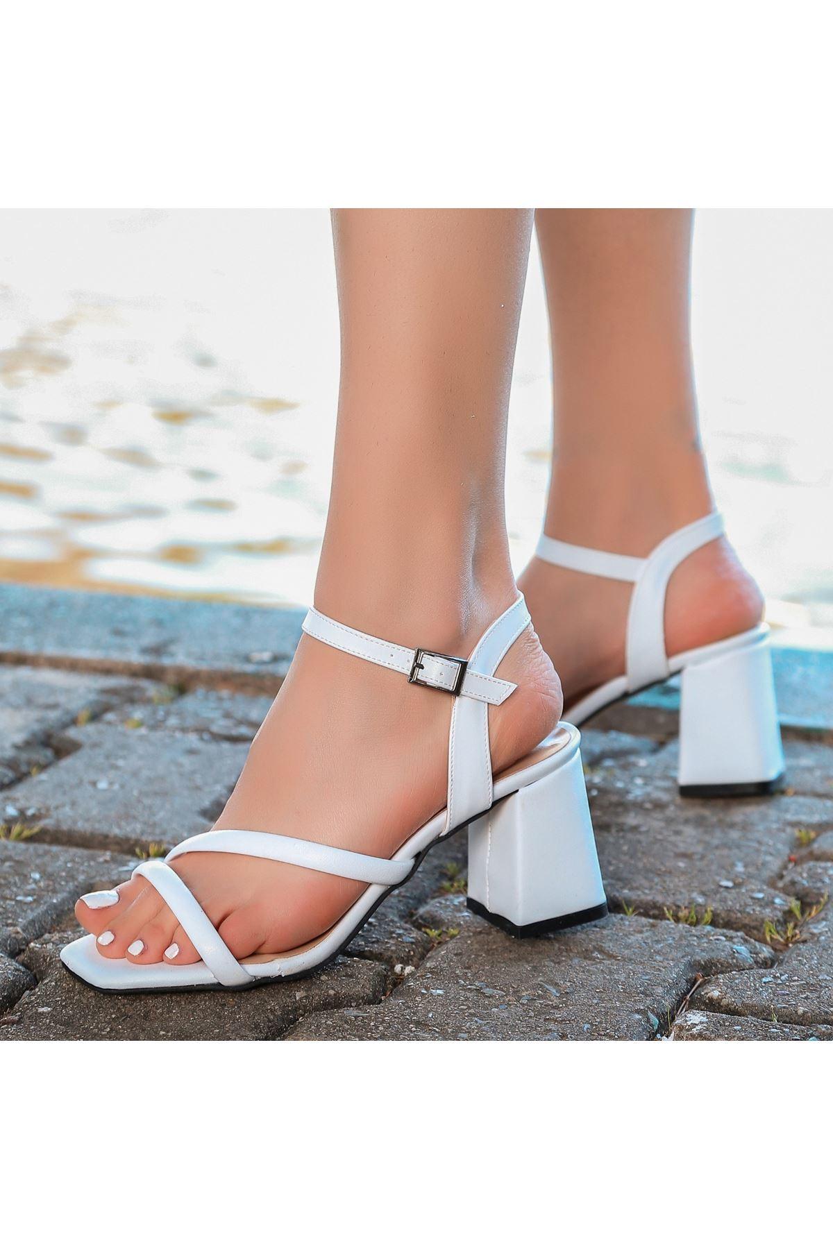 Lior Beyaz Cilt Topuklu Ayakkabı