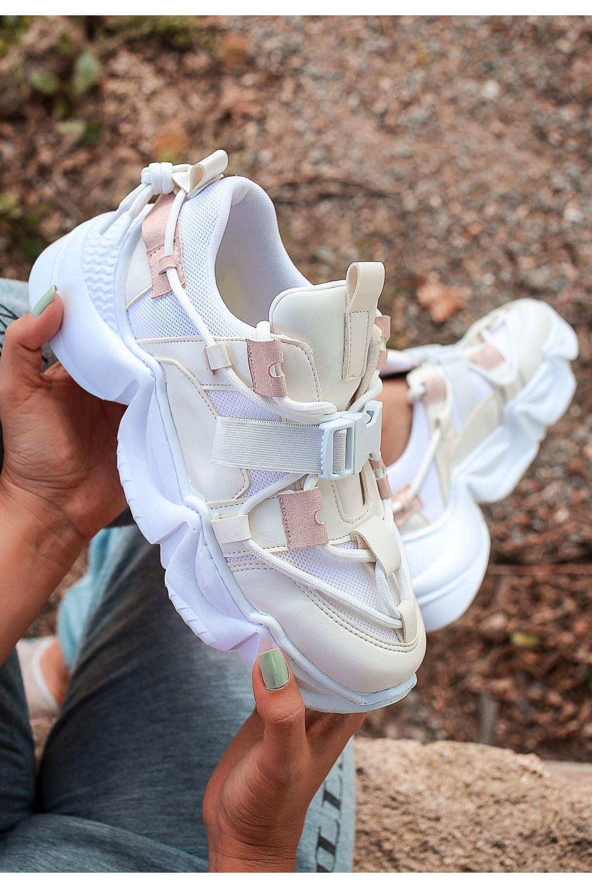 Maine Beyaz Cilt Pudra Detaylı Spor Ayakkabı