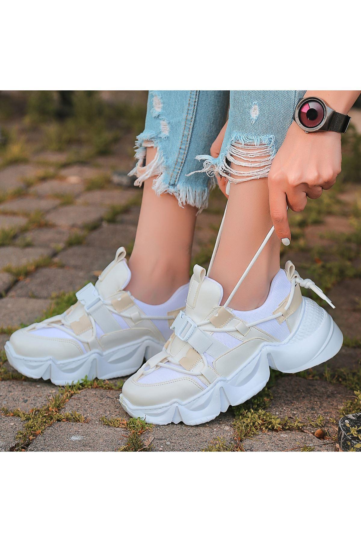 Maine Beyaz Cilt Krem Detaylı Spor Ayakkabı