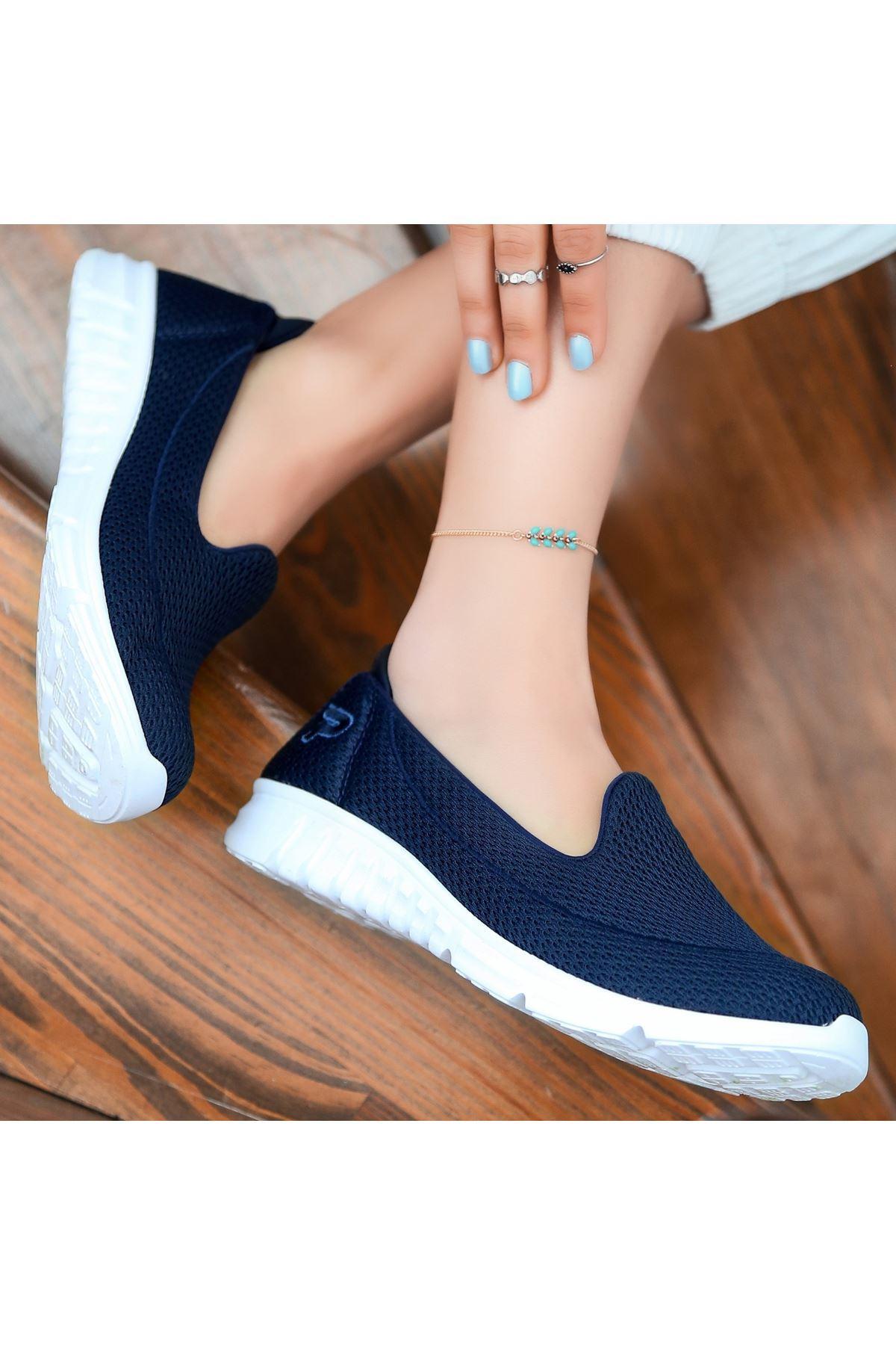 Wian Lacivert Streç Spor Ayakkabı