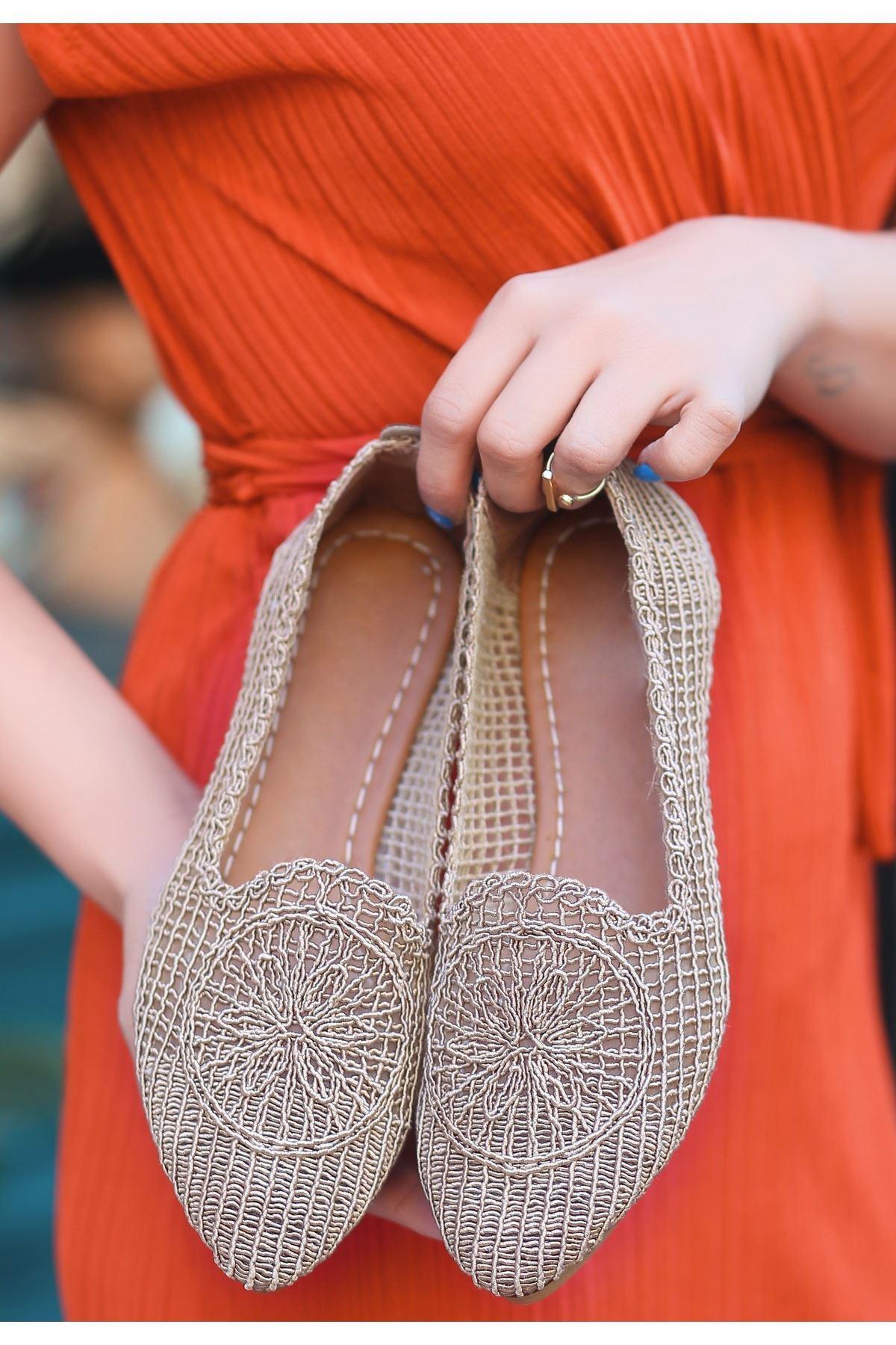 Rinz Vizon Örgülü Babet Ayakkabı