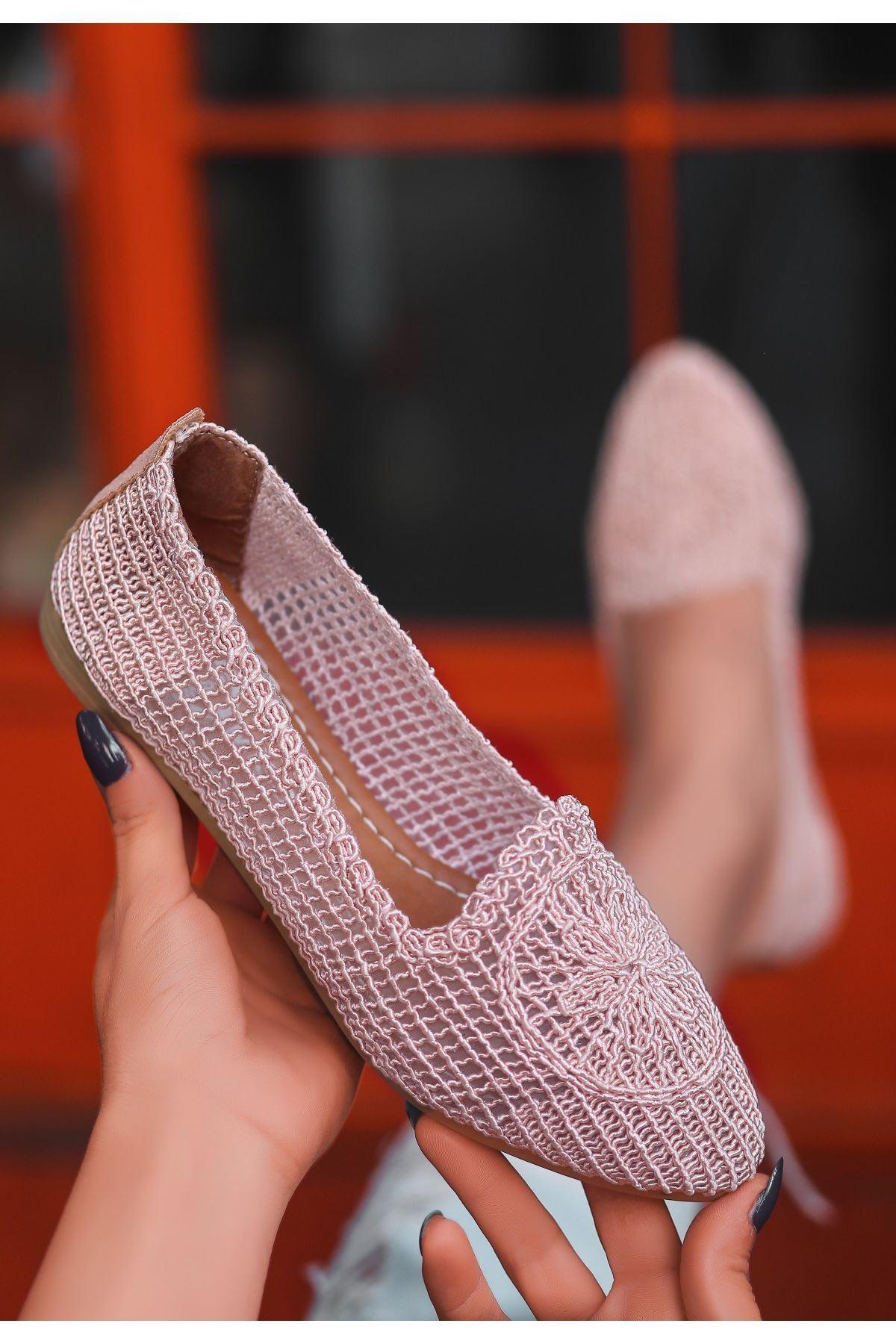 Rinz Pudra Örgülü Babet Ayakkabı