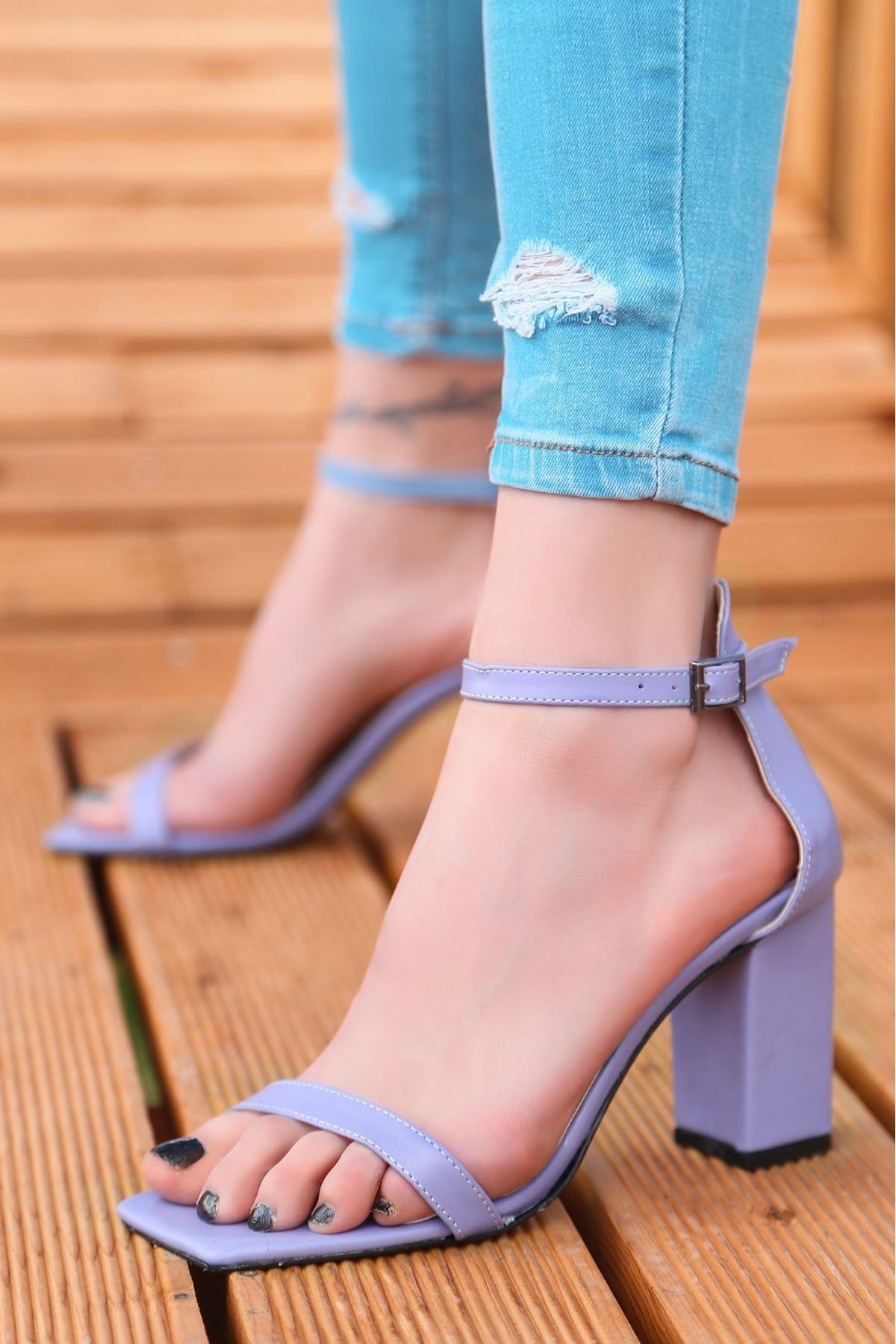 Siga Lila Cilt Topuklu Ayakkabı