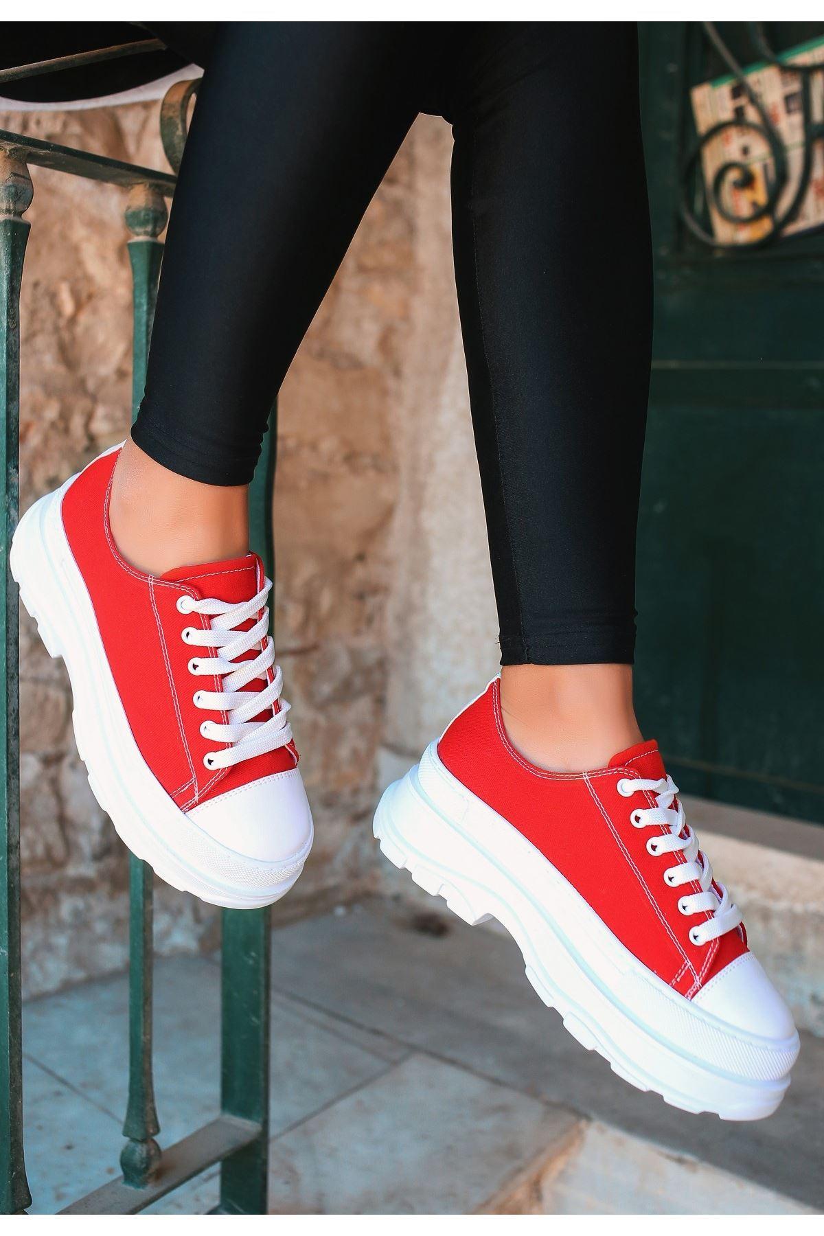 Bery Kırmızı Keten Bağcıklı Spor Ayakkabı