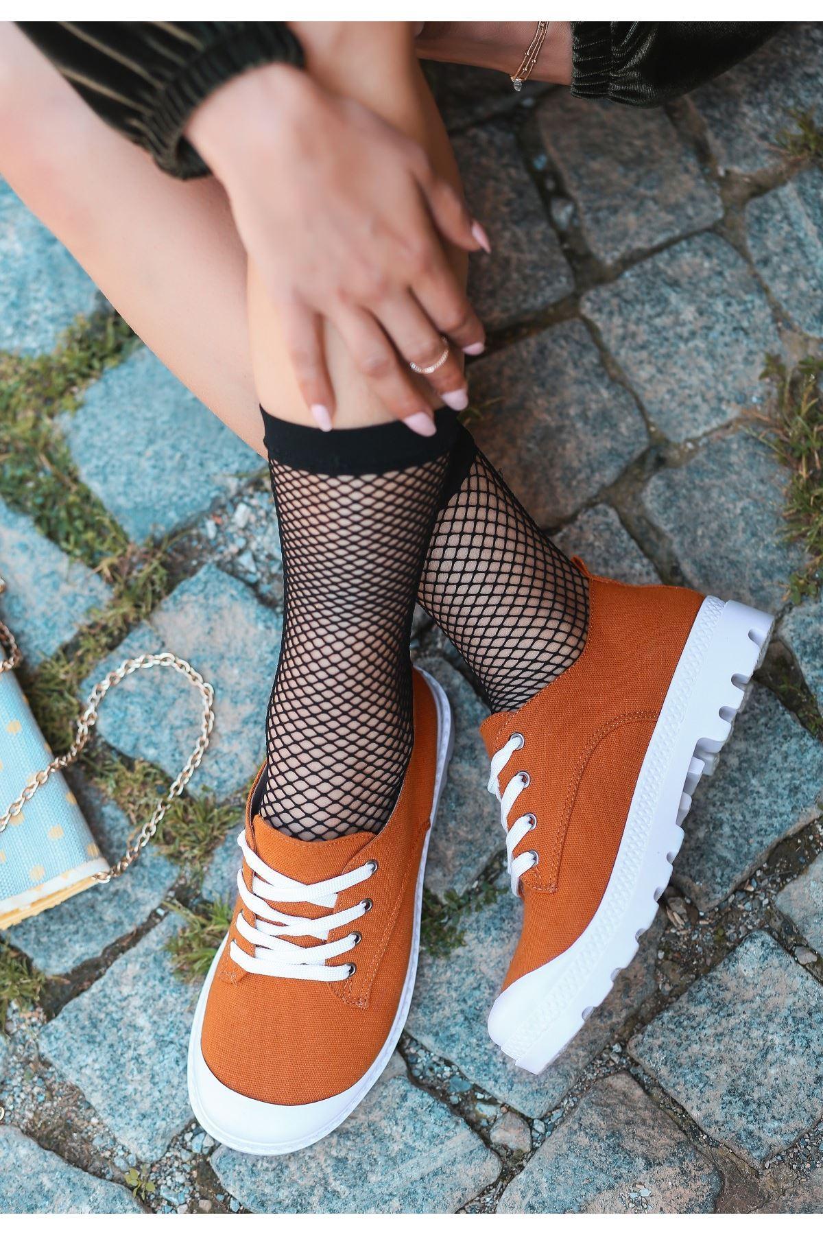 Mash Turuncu Süet Bağcıklı Spor Ayakkabı