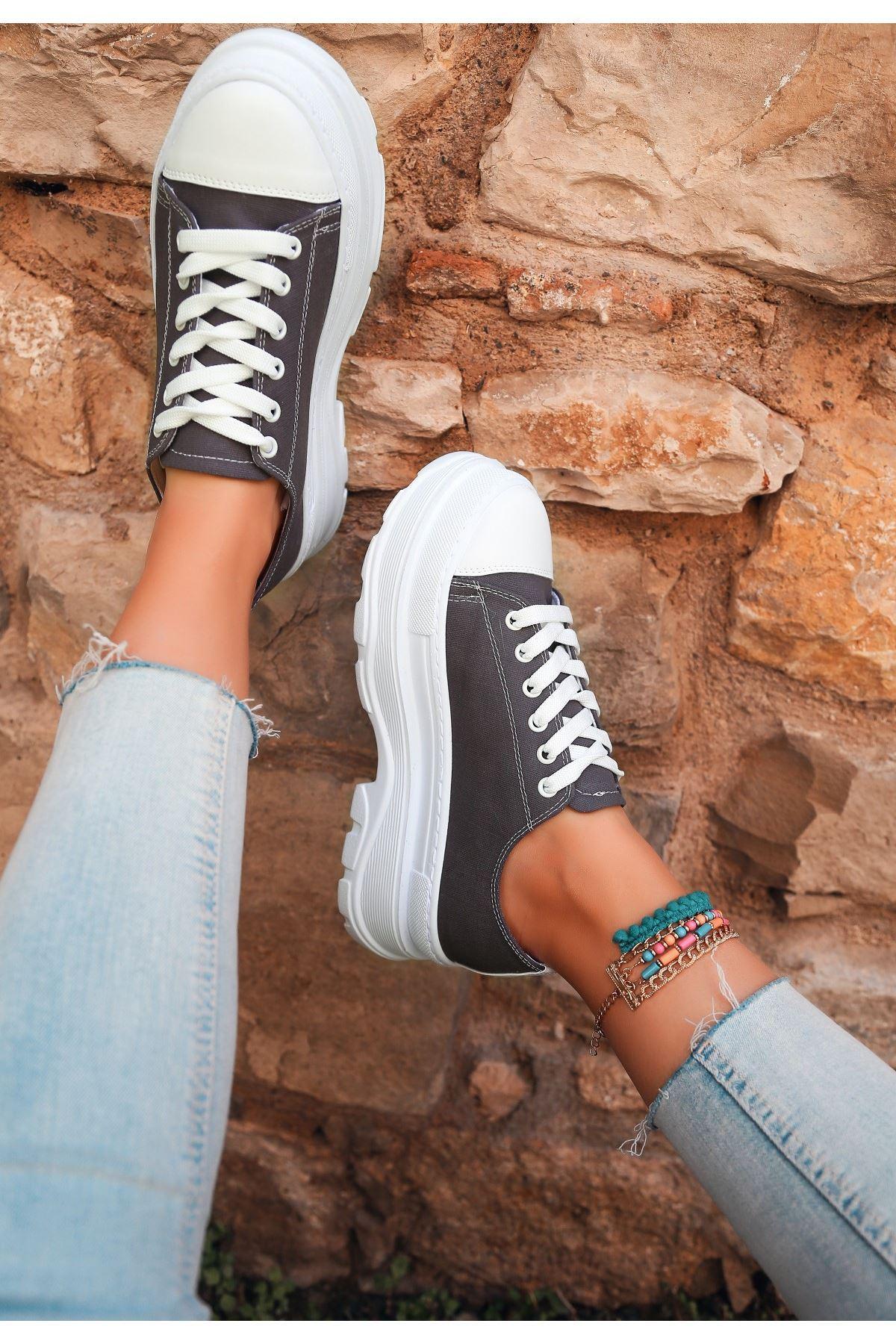 Bery Gri Keten Bağcıklı Spor Ayakkabı