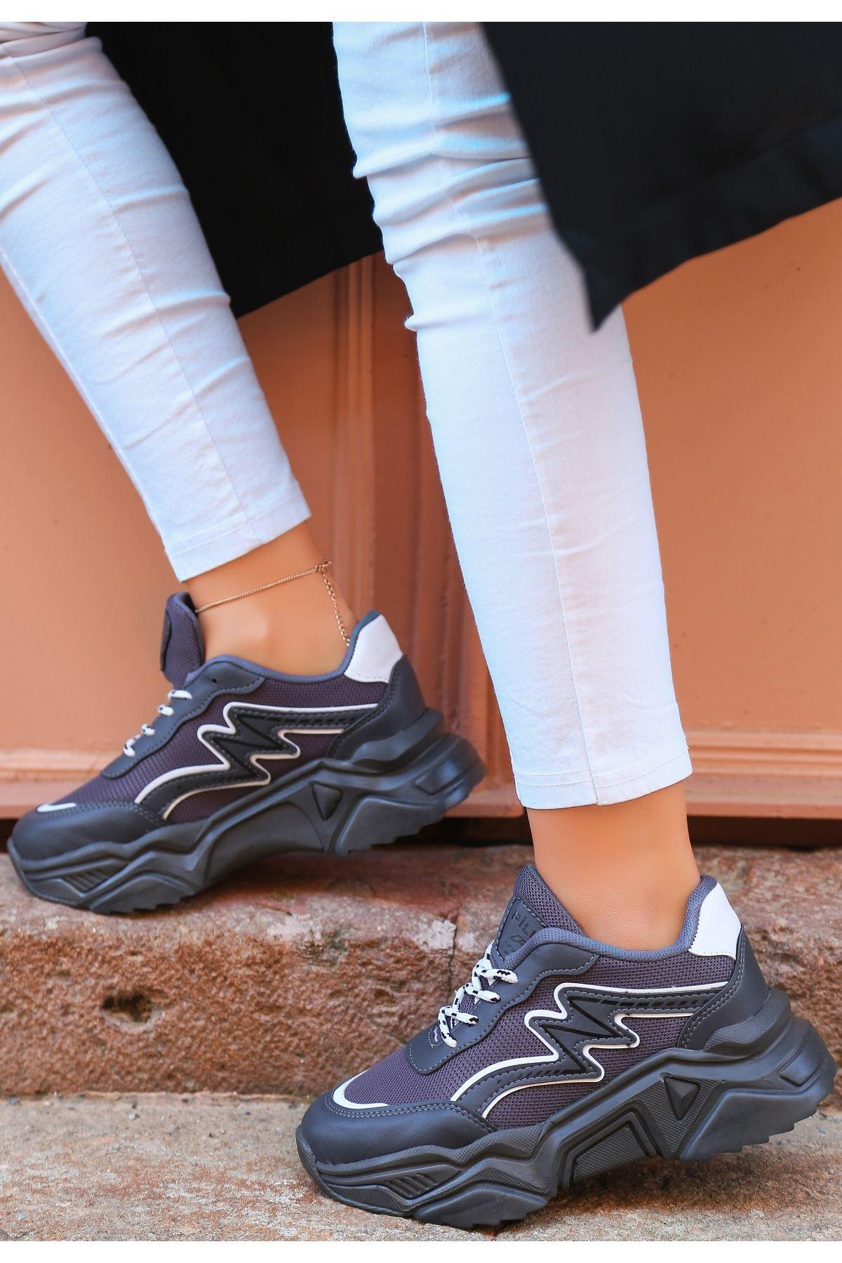 Maix Gri Cilt Bağcıklı Spor Ayakkabı