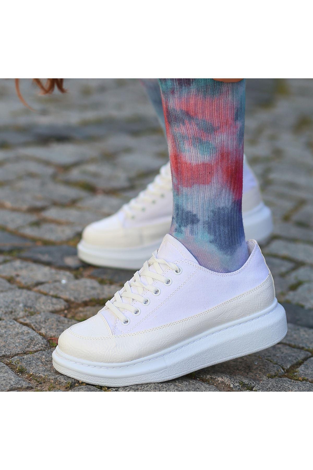 Voni Beyaz Rugan Keten Detaylı Spor Ayakkabı